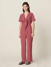Combi-Pantalon Fluide Imprimée : null couleur Rouge