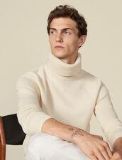 Pullover a collo alto in lana e cashmere : -40% colore Ecru
