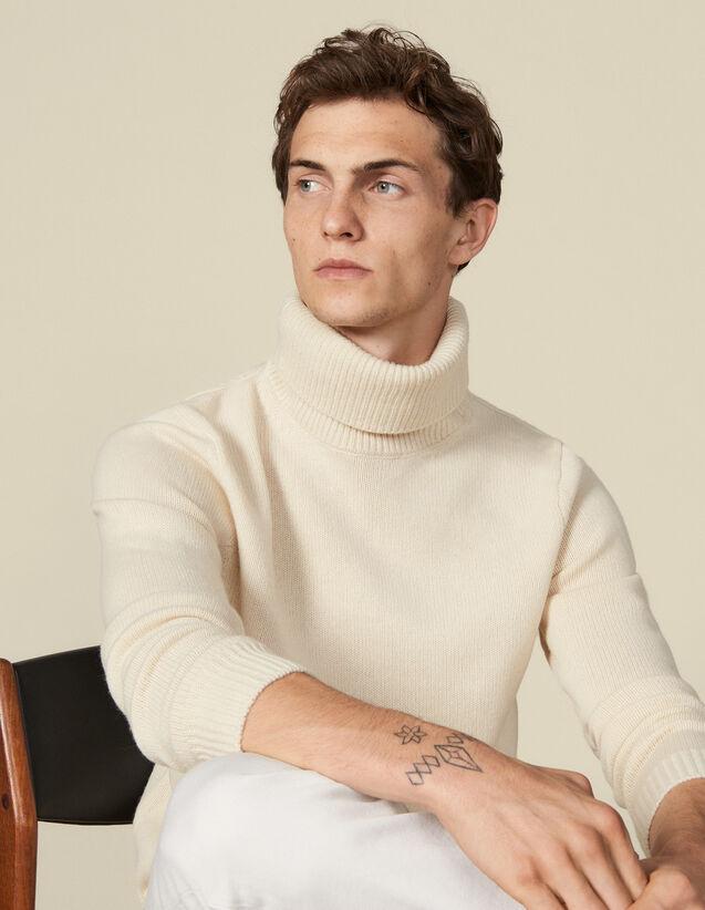 Pullover a collo alto in lana e cashmere : Maglioni & Cardigan colore Ecru
