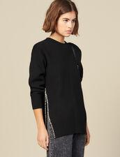 Pullover Con Spacco Ricamato Di Perle : Maglieria & Cardigan colore Beige