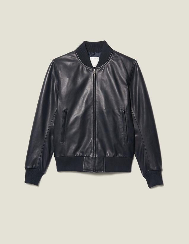 Blouson zippé en cuir : Blousons & Vestes couleur Marine