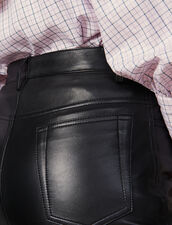 Pantaloni In Pelle Dritti Con Aperture : Pantaloni colore Nero