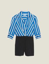 Combinaison Short Bi-Matière : null couleur Bleu