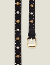 Cintura ornata da rivetti e strass : Il meglio della stagione colore Nero