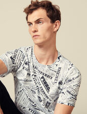 T-Shirt Con Stampa Giornale : Magliette & Polo colore Bianco/Nero