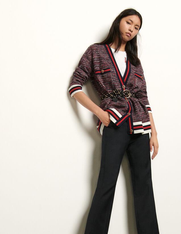 Cardigan effet tweed à galons rayés : Pulls & Cardigans couleur Bleu/Rouge