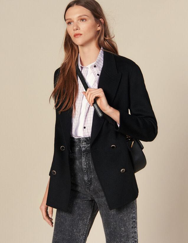 Blazer à double boutonnage en laine : Blousons & Vestes couleur Noir