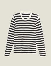 Pullover Marinière In Cotone E Cashmere : LastChance-CH-HSelection-Pap&Access colore Ecru