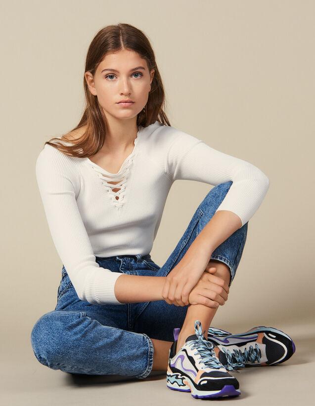 Pull À Encolure Lacée : Pulls & Cardigans couleur blanc