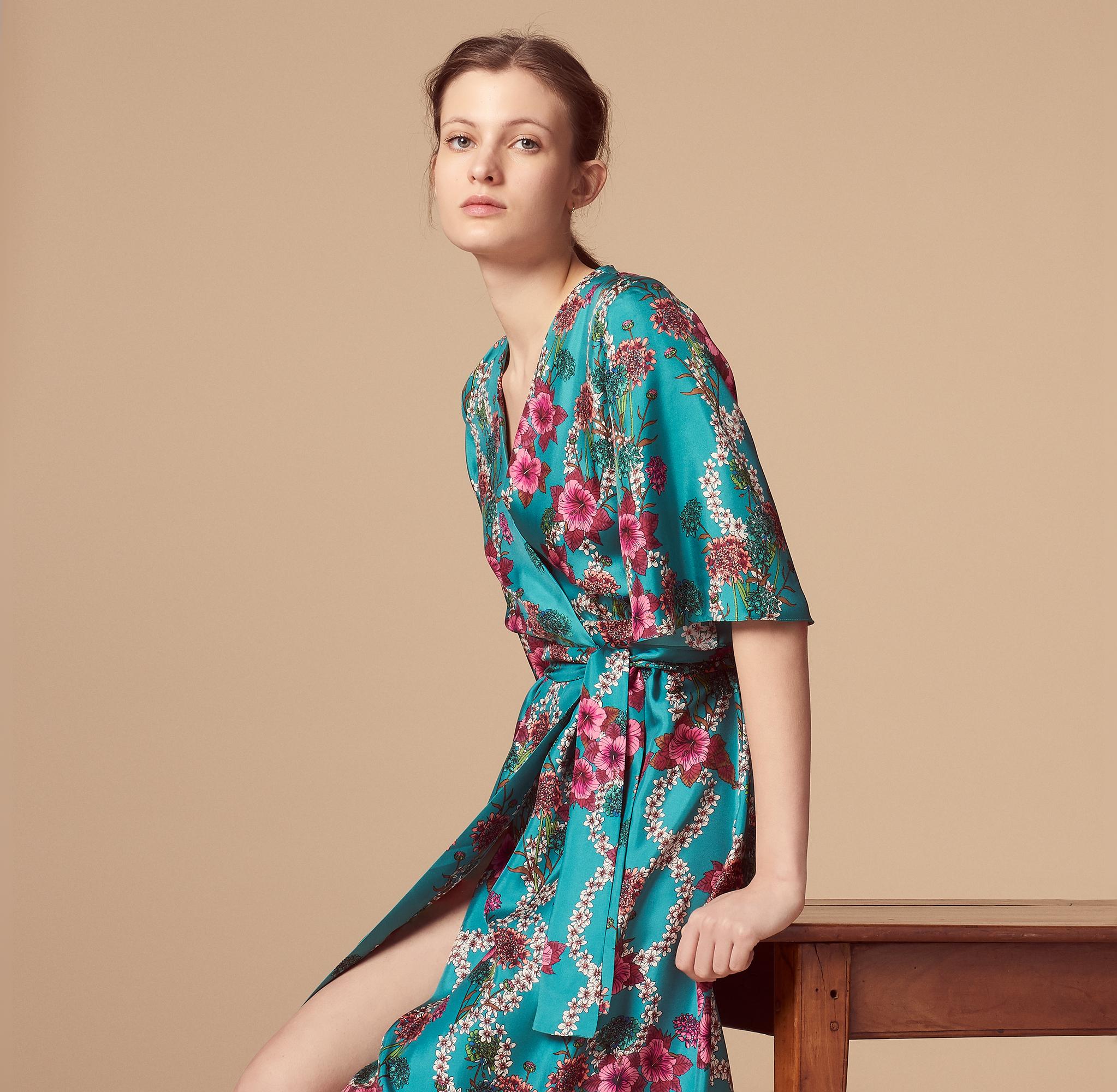 Abito kimono in seta con stampa floreale : Abiti colore Blu turchese