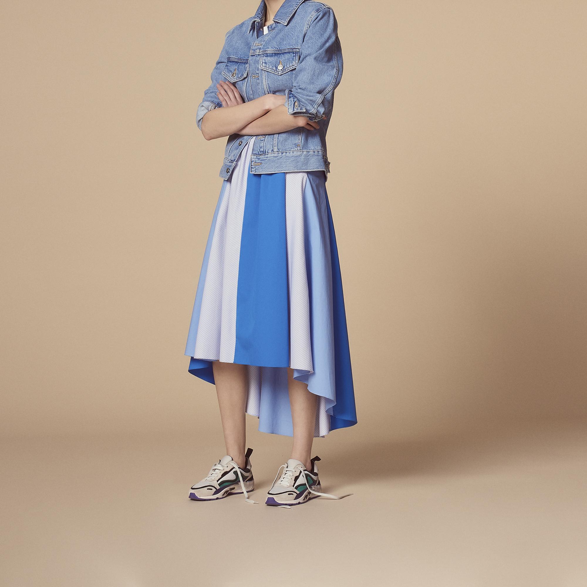Gonna lunga asimmetrica bicolore : Gonne & Short colore Blu ceruleo
