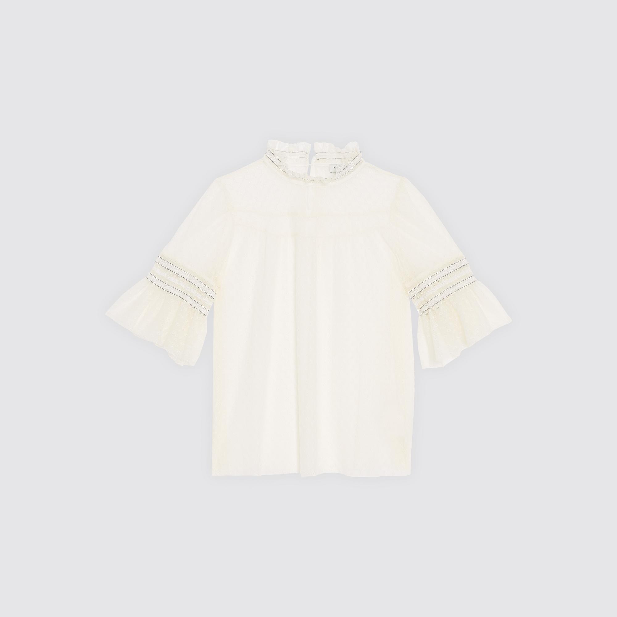Top in pizzo con collo alto : Top & Camicie colore Ecru