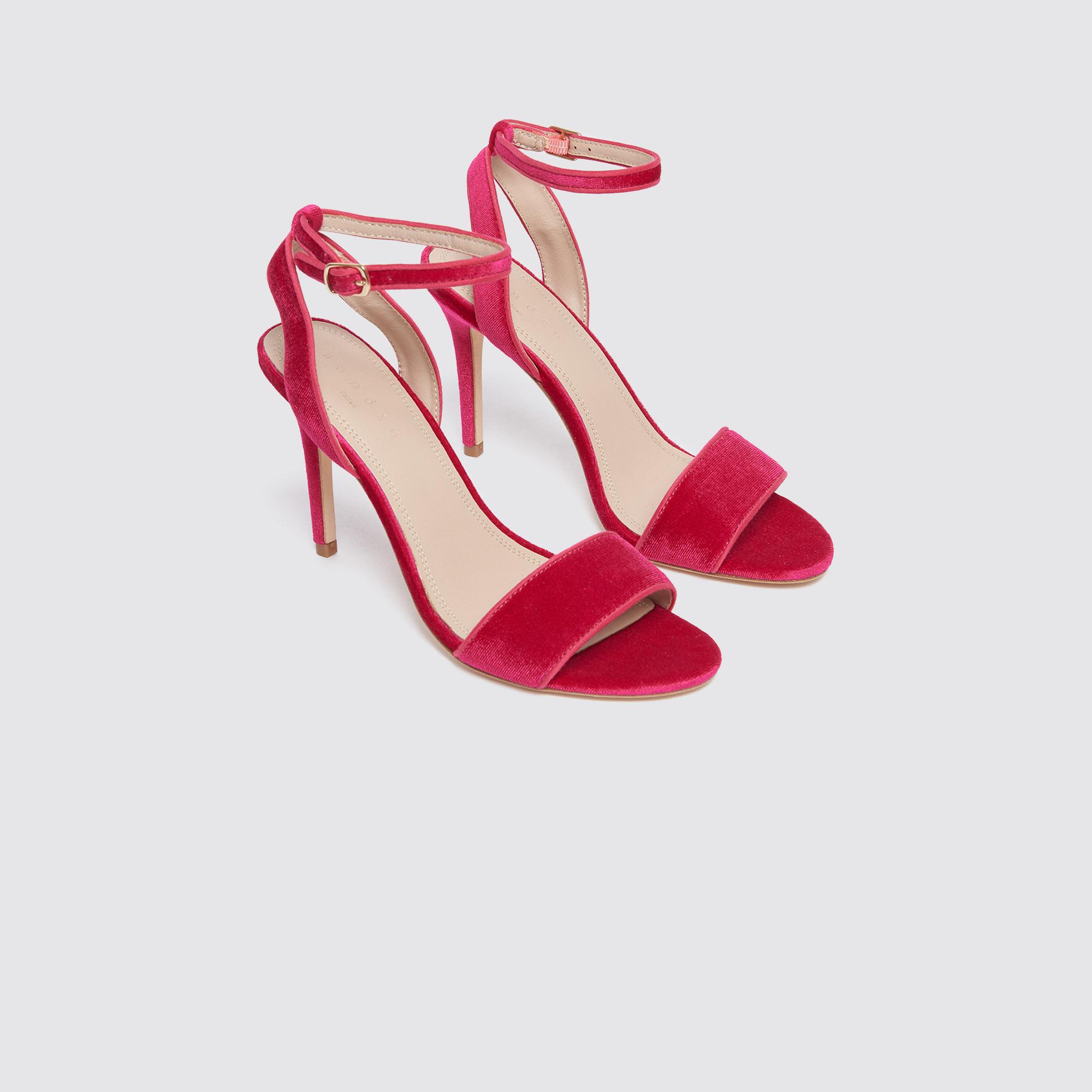 Sandali con il tacco in velluto : Borse & Accessori colore Fucsia