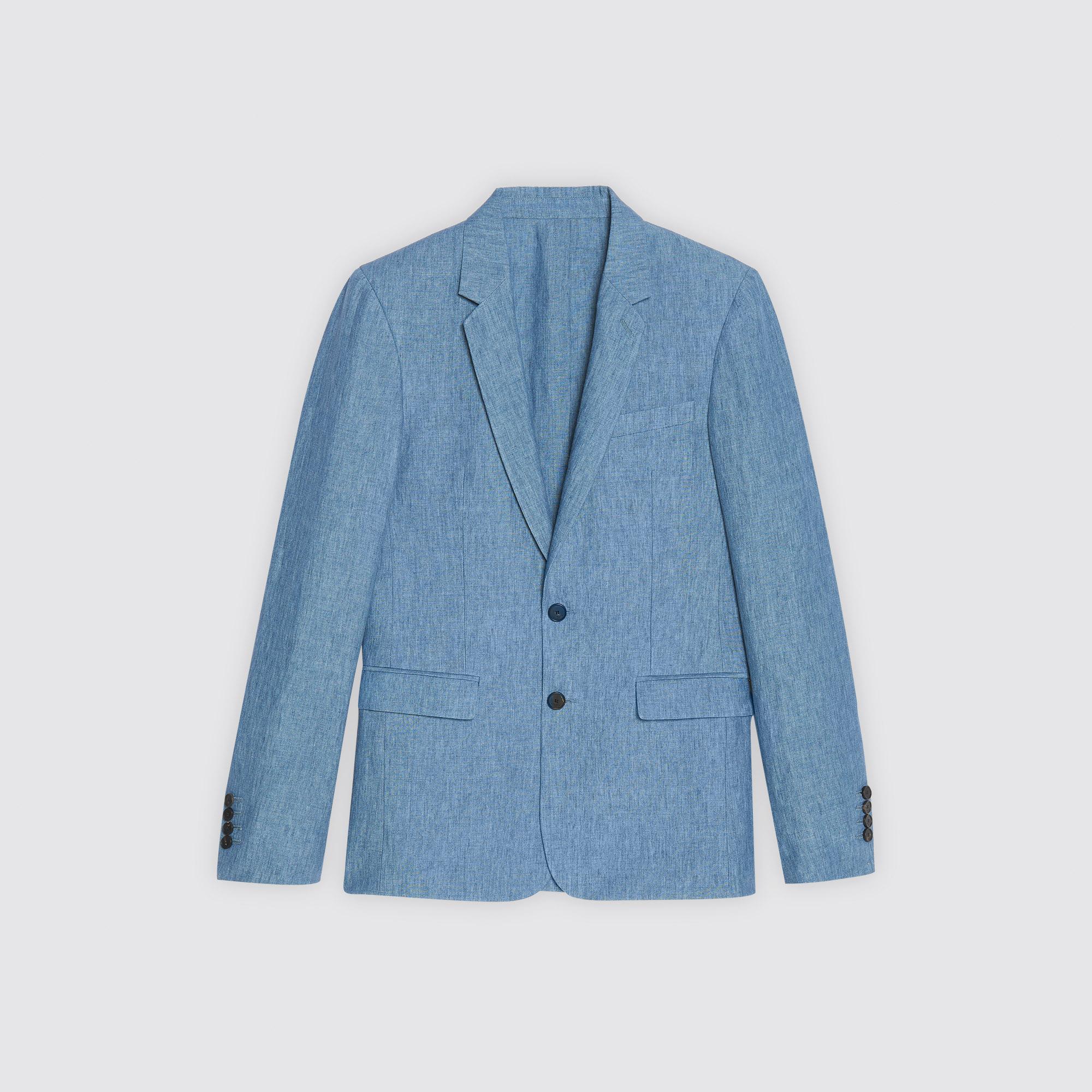 Giacca slim fit in lino : Abiti & Smoking colore Blu