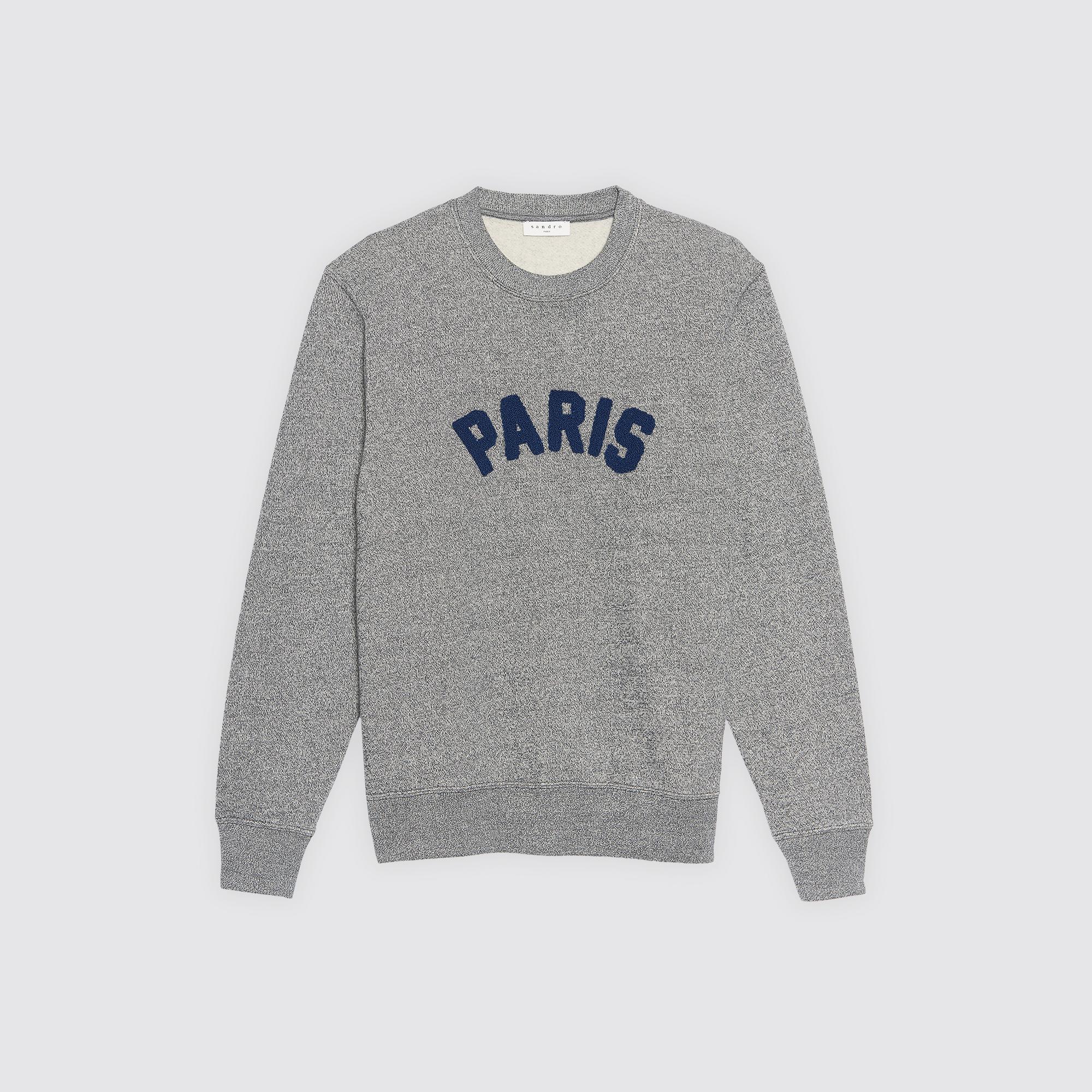 Felpa con applicazione Paris : Felpe colore Grigio Screziato