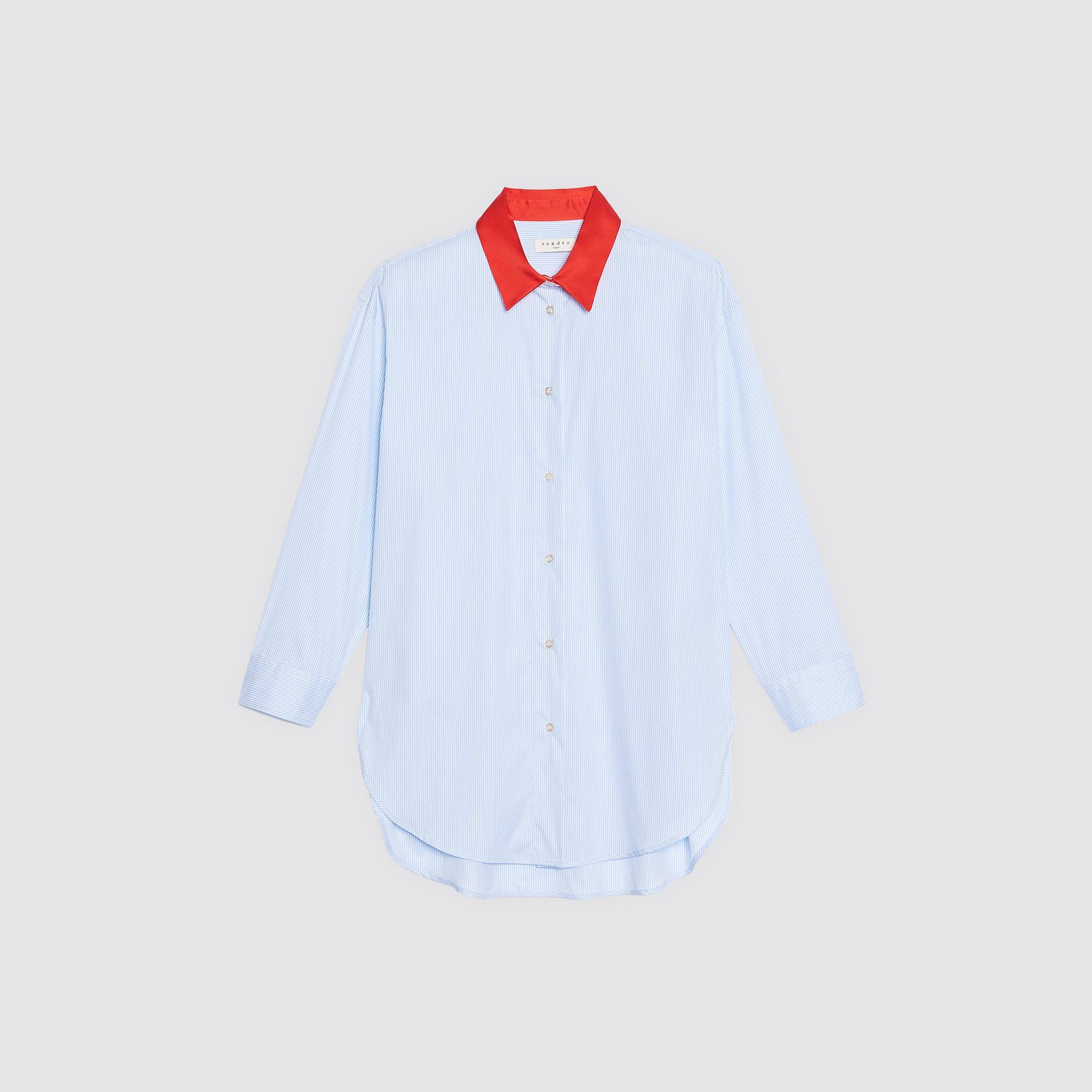 Camicia con colletto a contrasto : Collezione Estiva colore Sky Blue