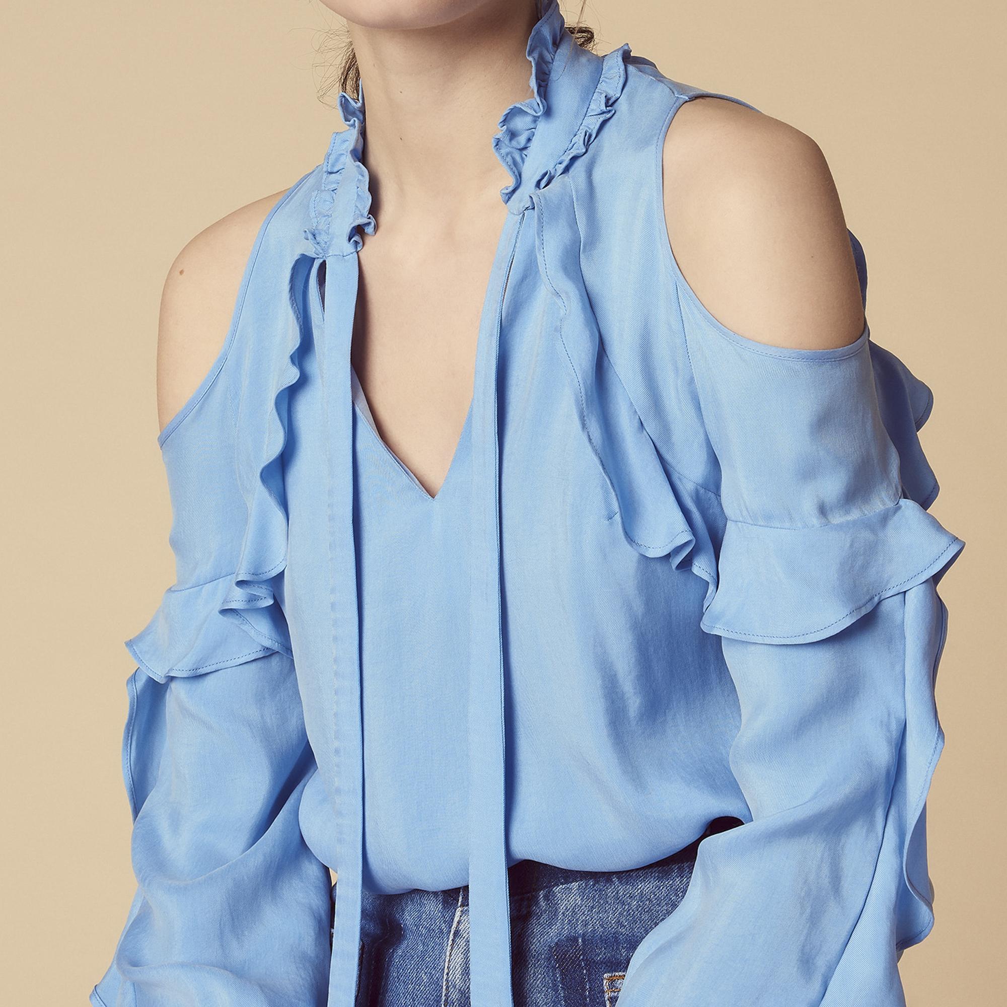 Top con volant e spalle scoperte : Top & Camicie colore Sky Blue