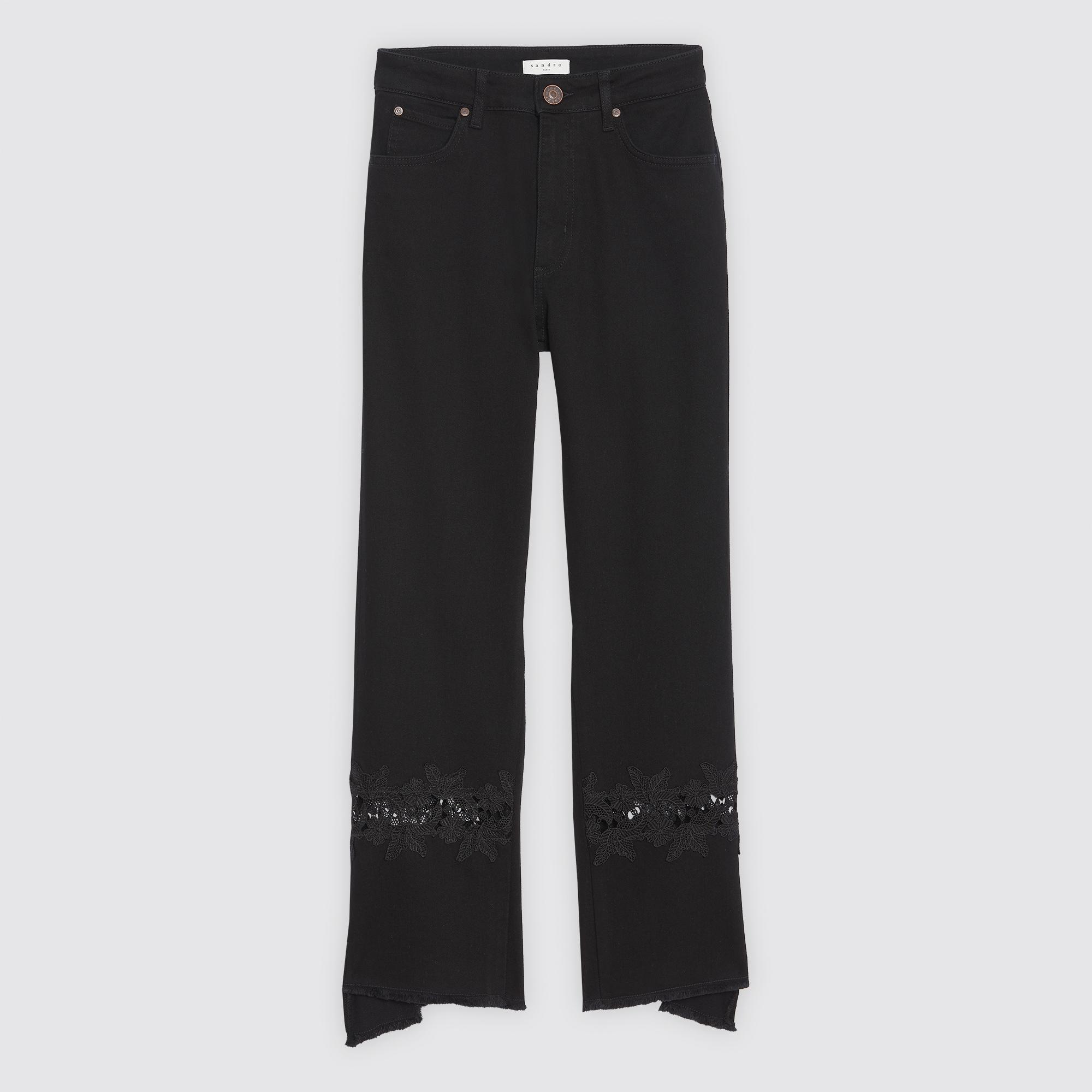 Jeans svasati con inserto in pizzo : Jeans colore Nero