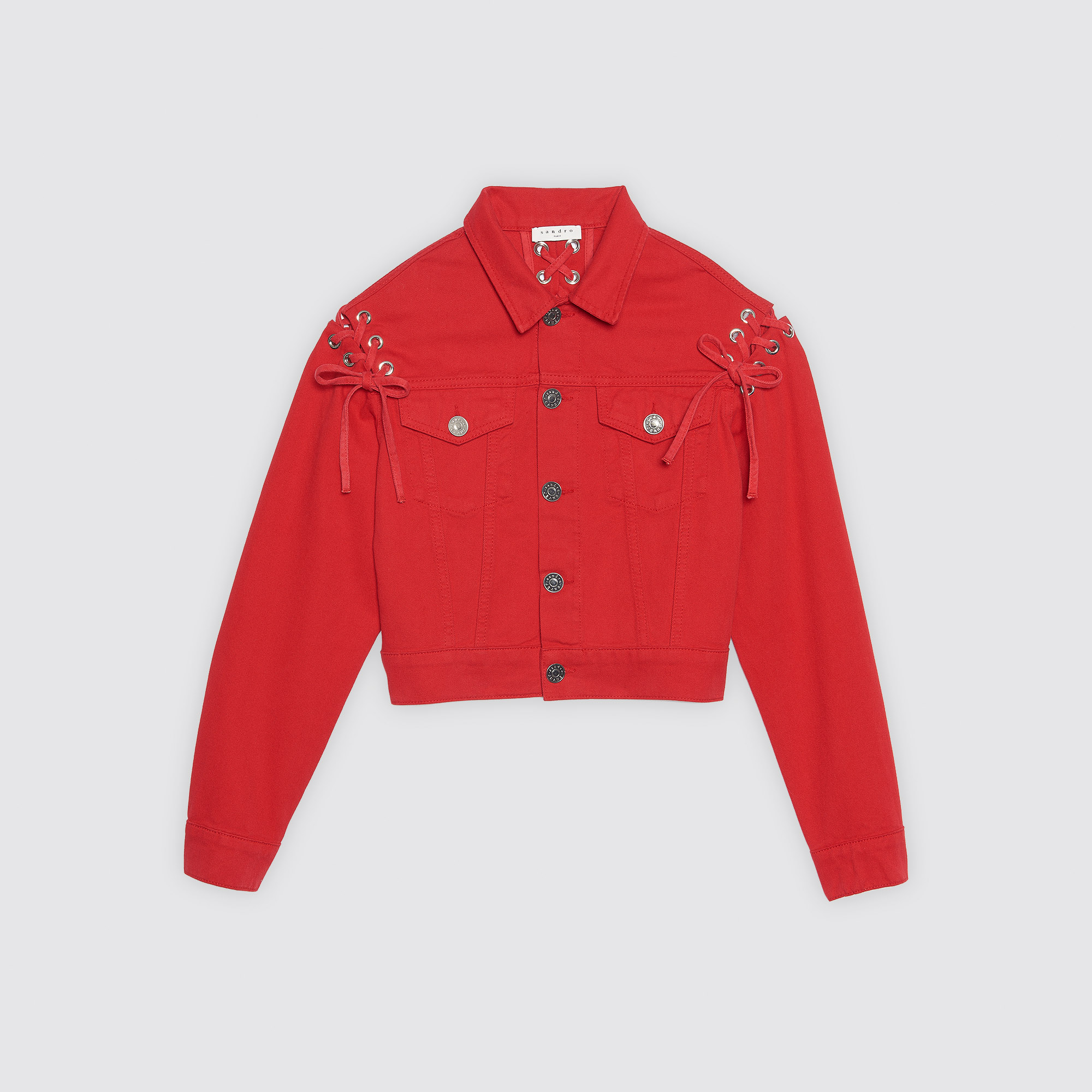 Giacca in cotone con lacci : Collezione Estiva colore Rosso Ciliegia