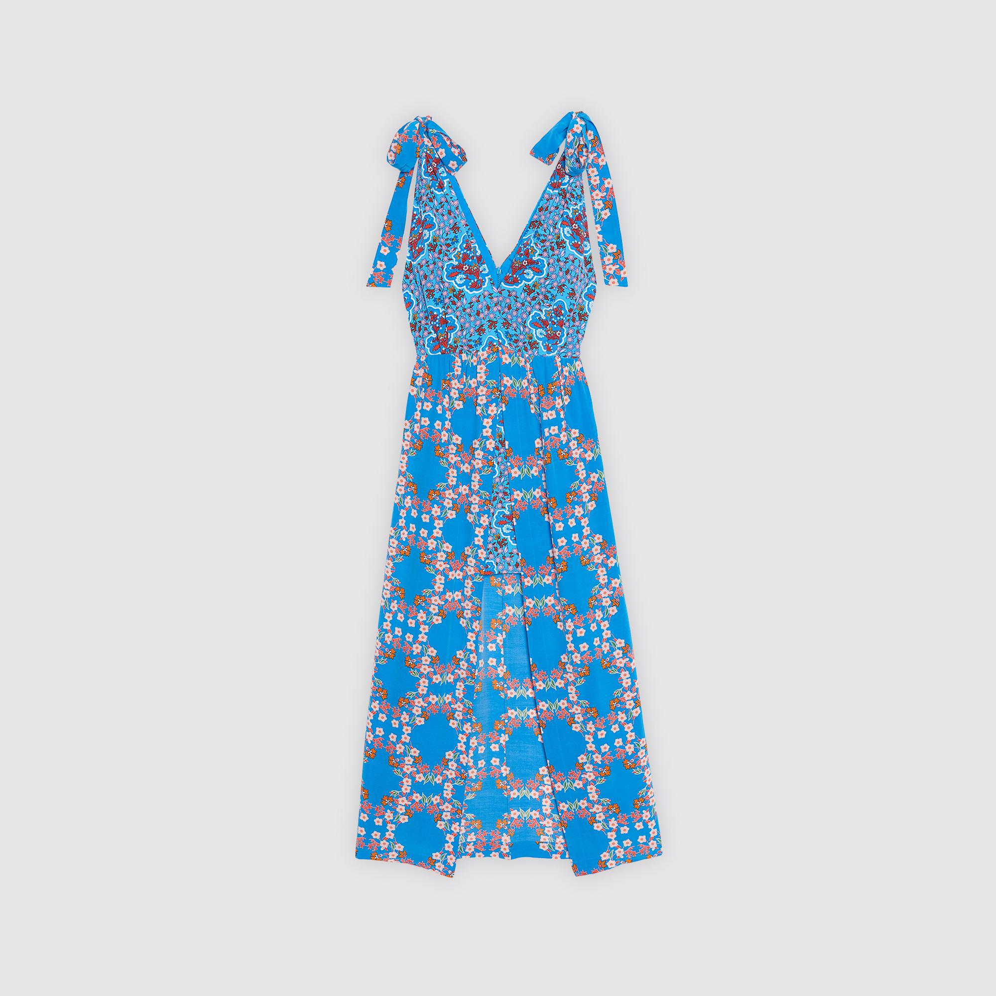 Abito lungo con stampa floreale e spacco : Abiti colore Blu turchese