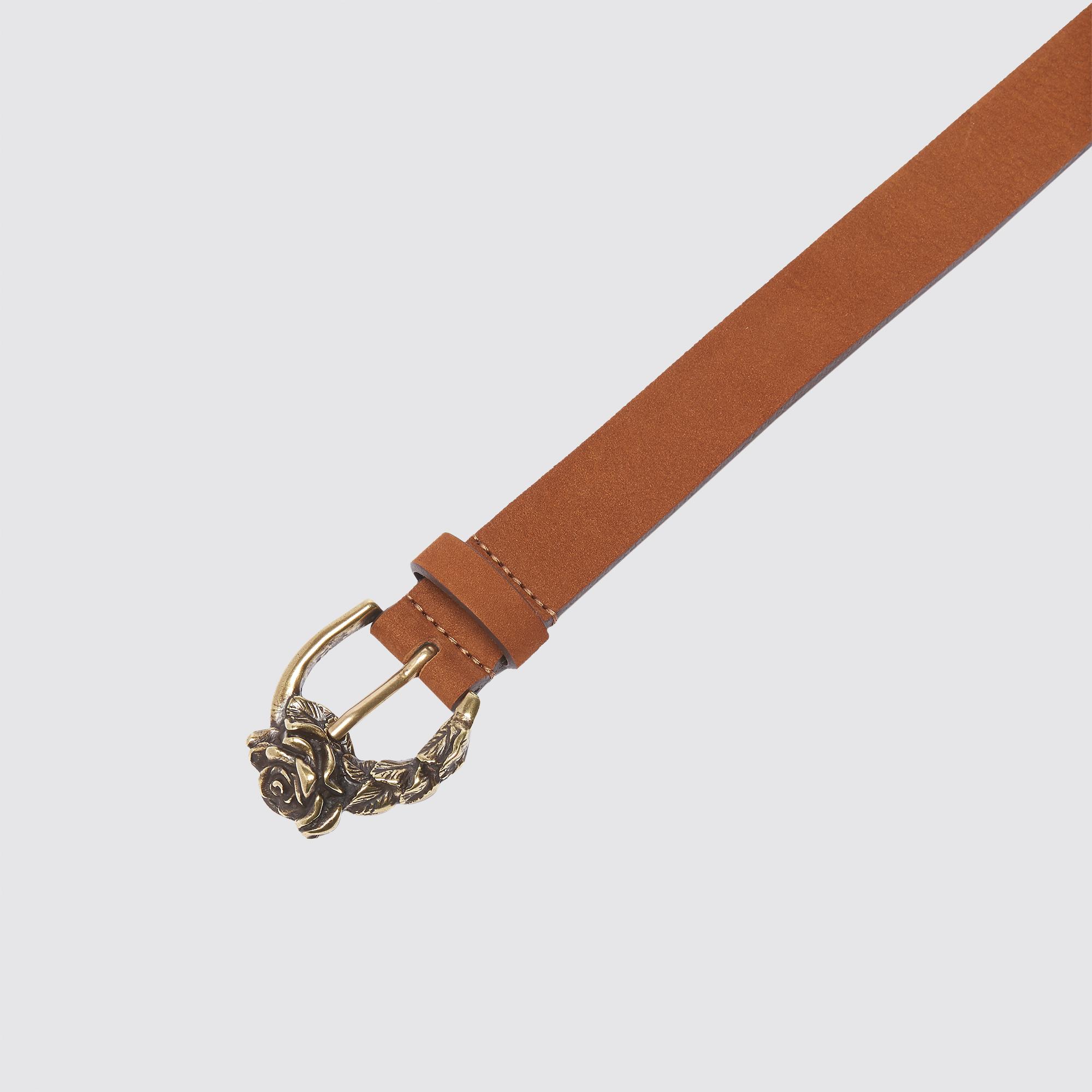 Cintura con fibbia a rosa : Cinture colore Cammello