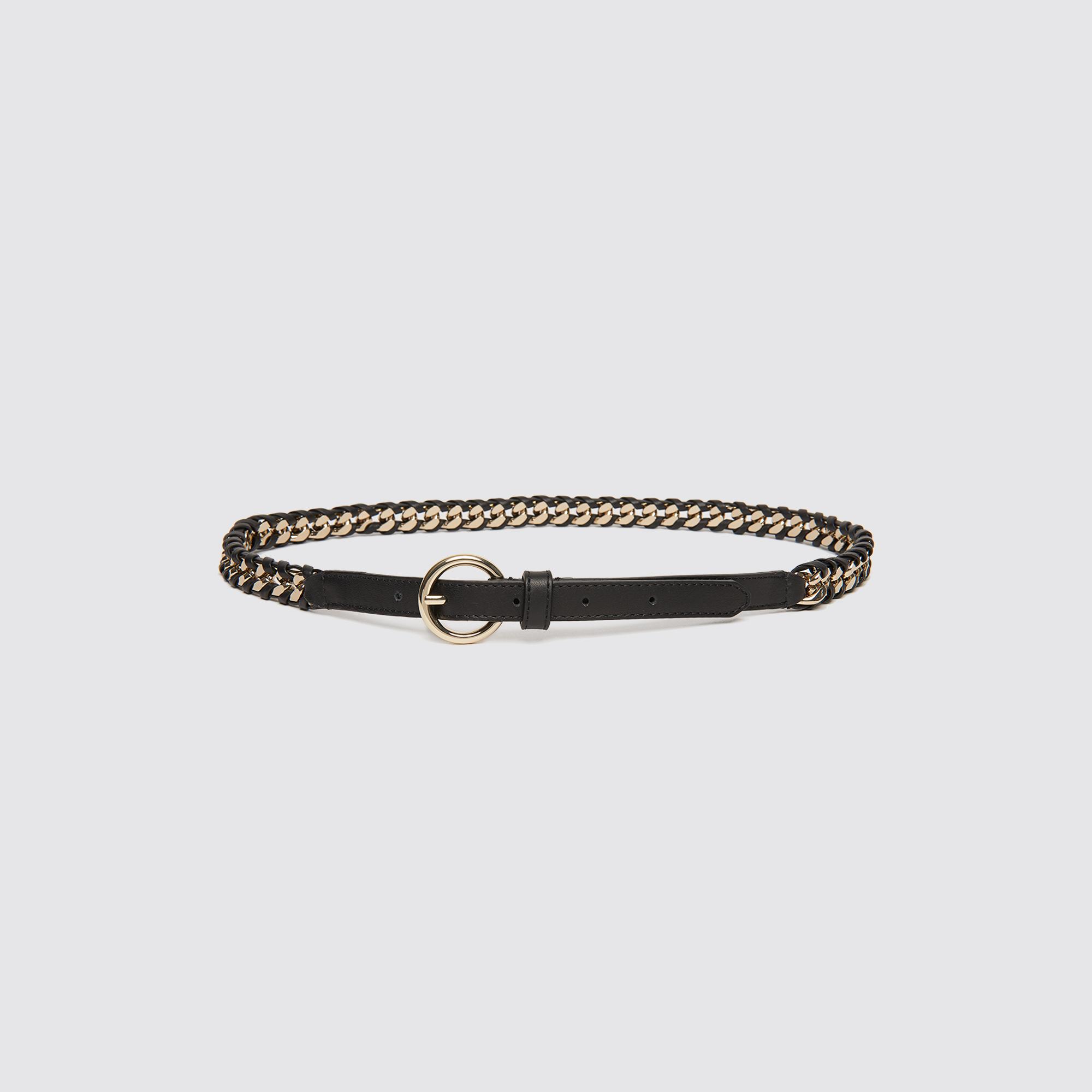 Cintura intrecciata in metallo dorato : Cinture colore Nero