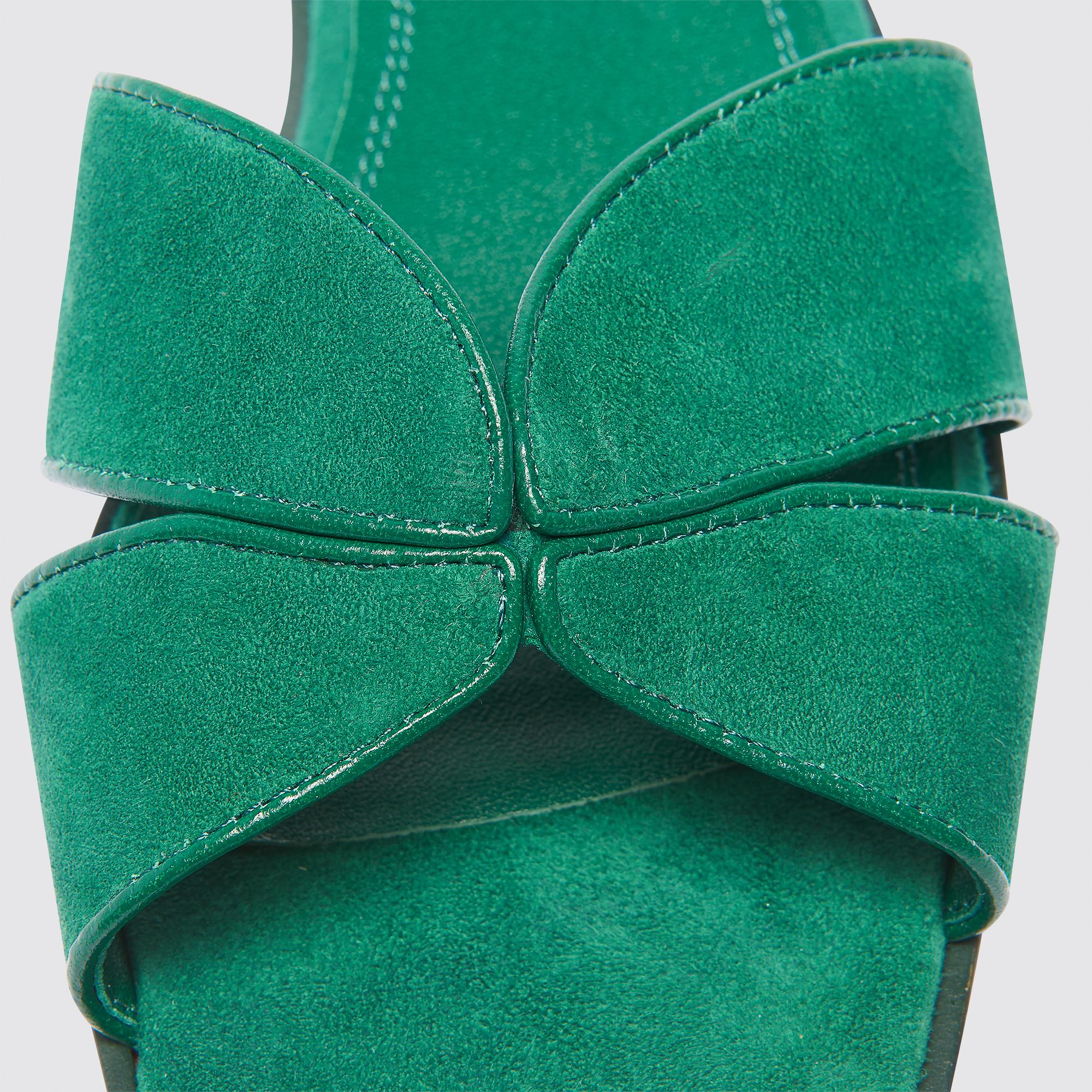 Sandali piatti incrociati in pelle : Sandali colore Verde Abete