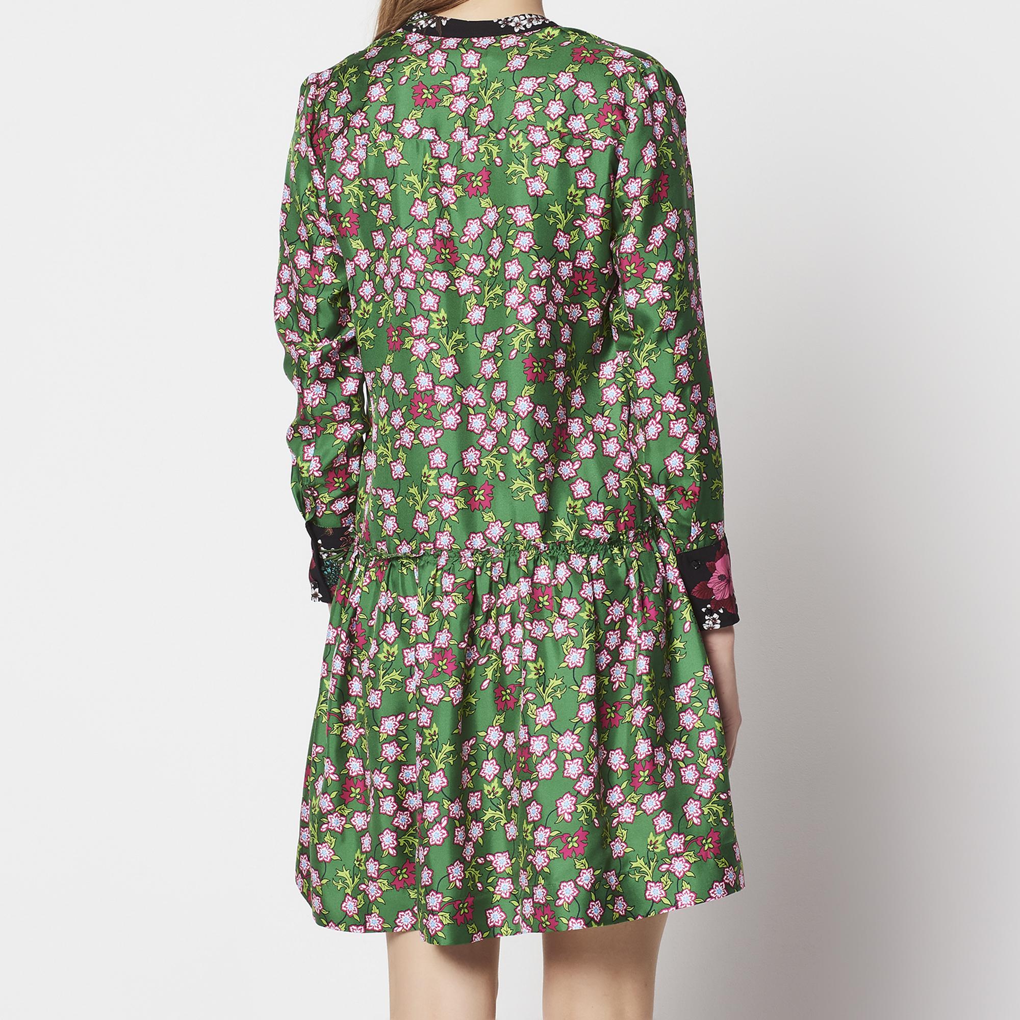 Abito in seta con stampa floreale : Abiti colore Verde