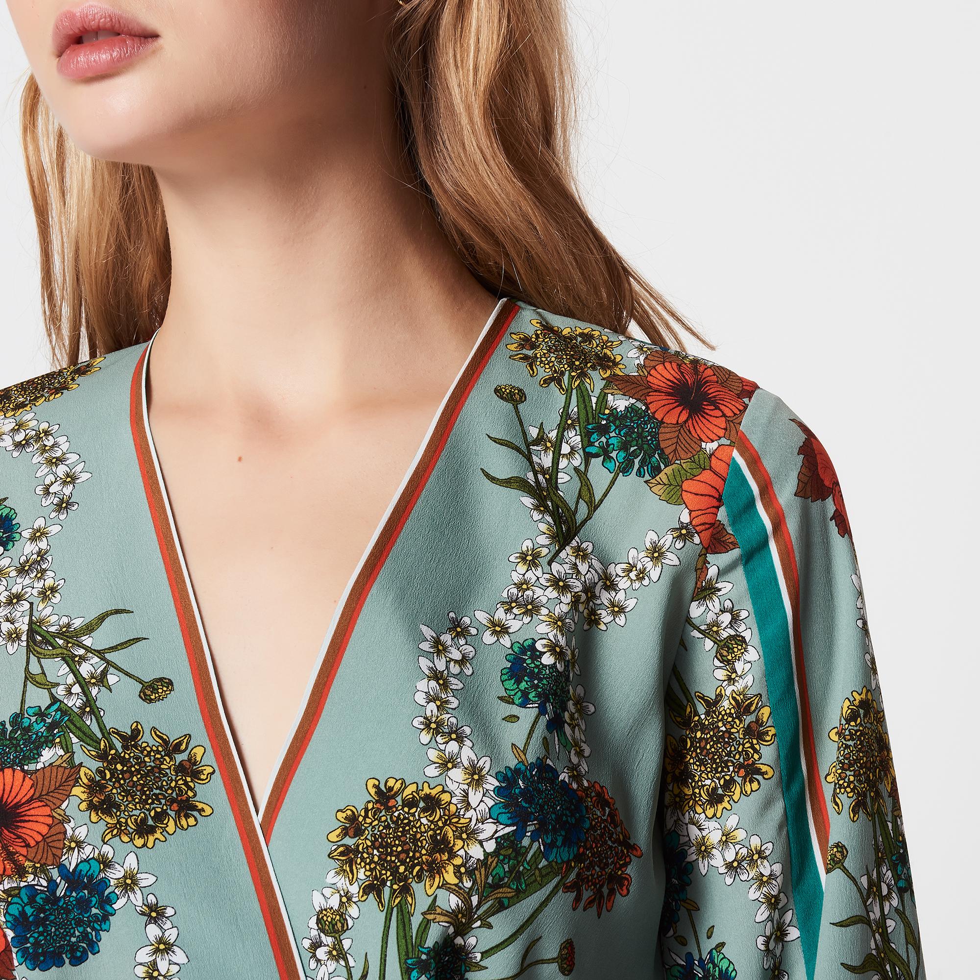 Abito lungo con stampa kimono : Abiti colore Verde