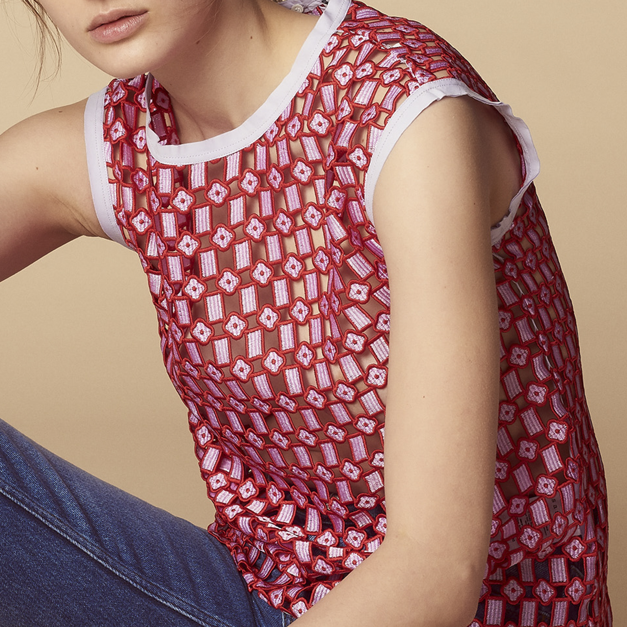Top in pizzo all-over : Top & Camicie colore Rosso
