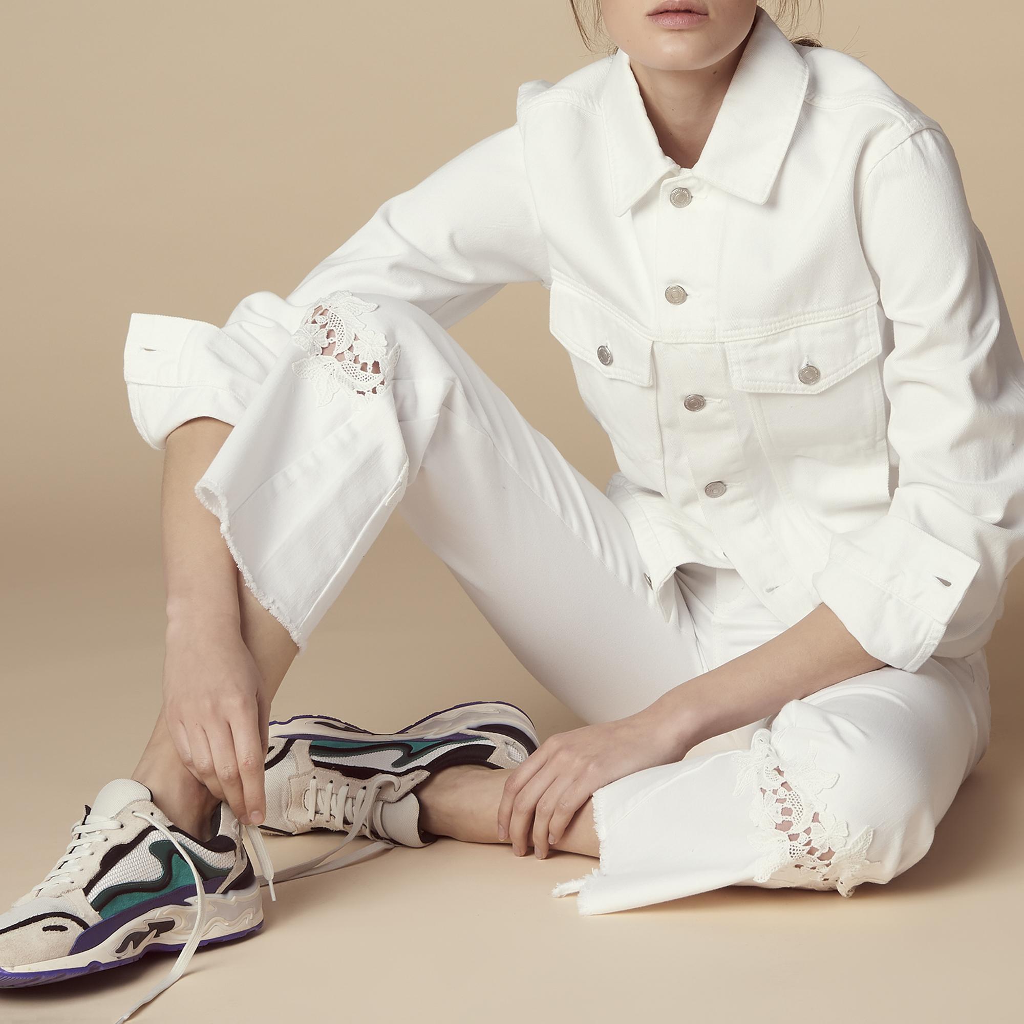 Jeans svasati con inserto in pizzo : Jeans colore Bianco