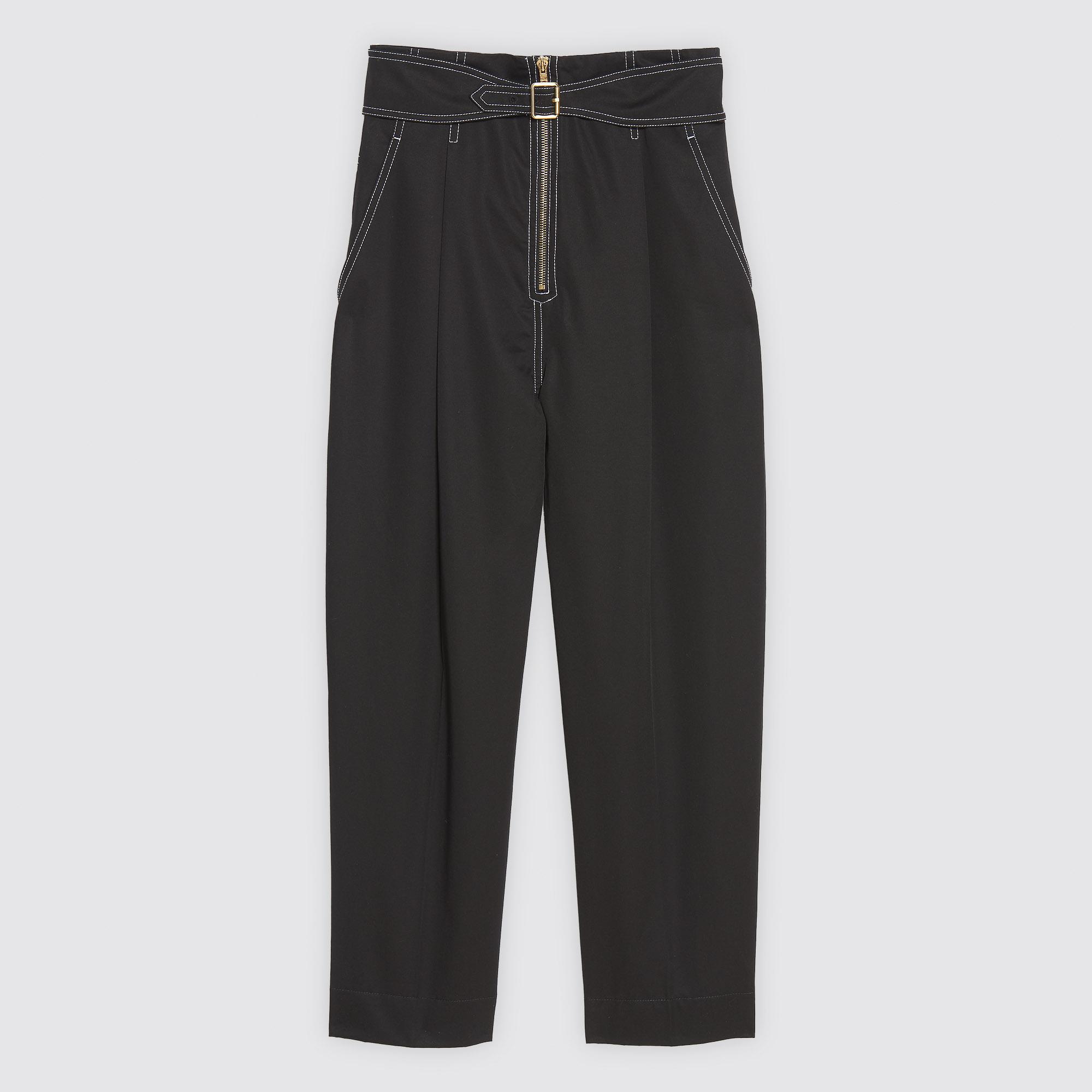 Pantaloni in cotone con zip e cintura : Collezione Estiva colore Nero
