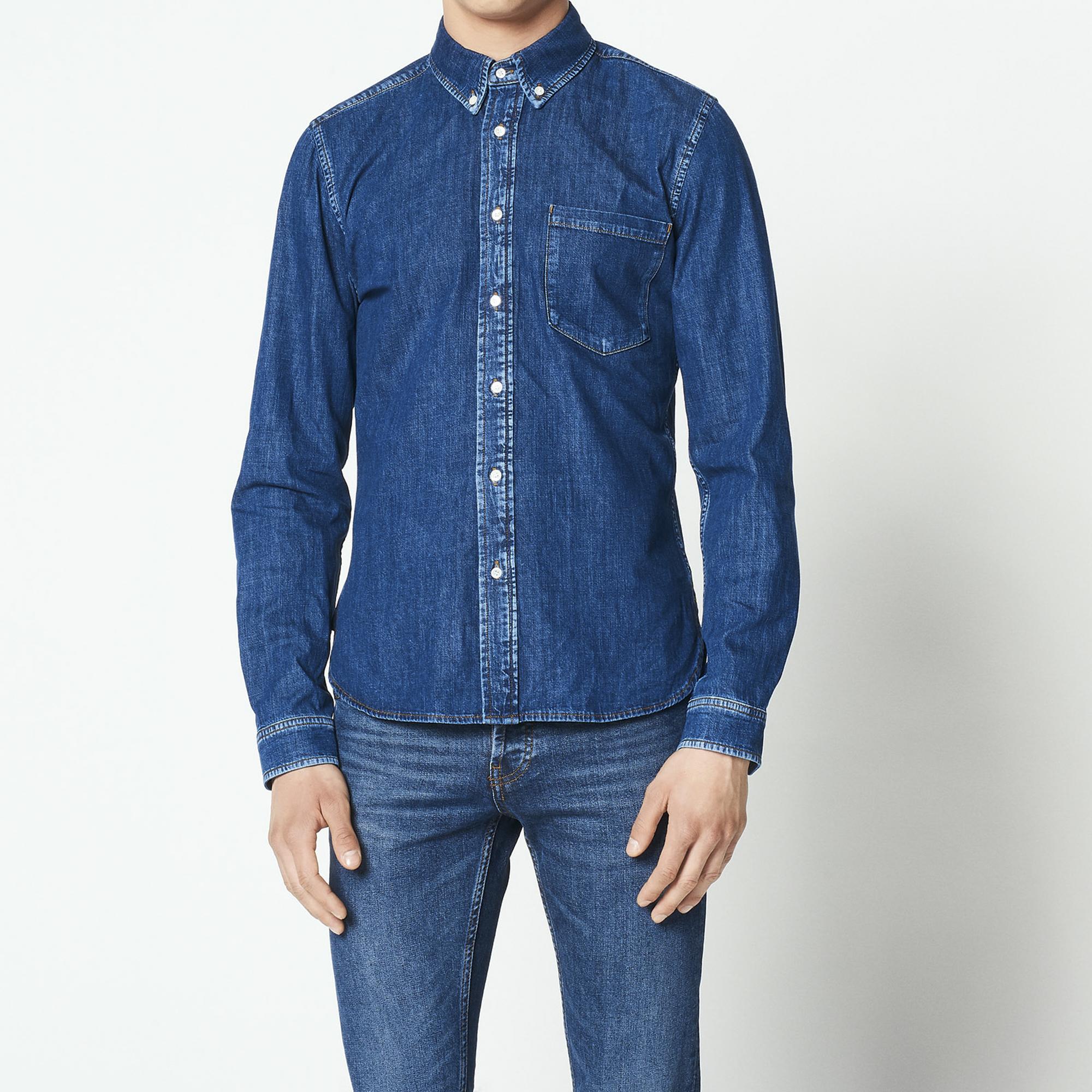 Camicia in jeans grezzo : Camicie colore Blu Scuro