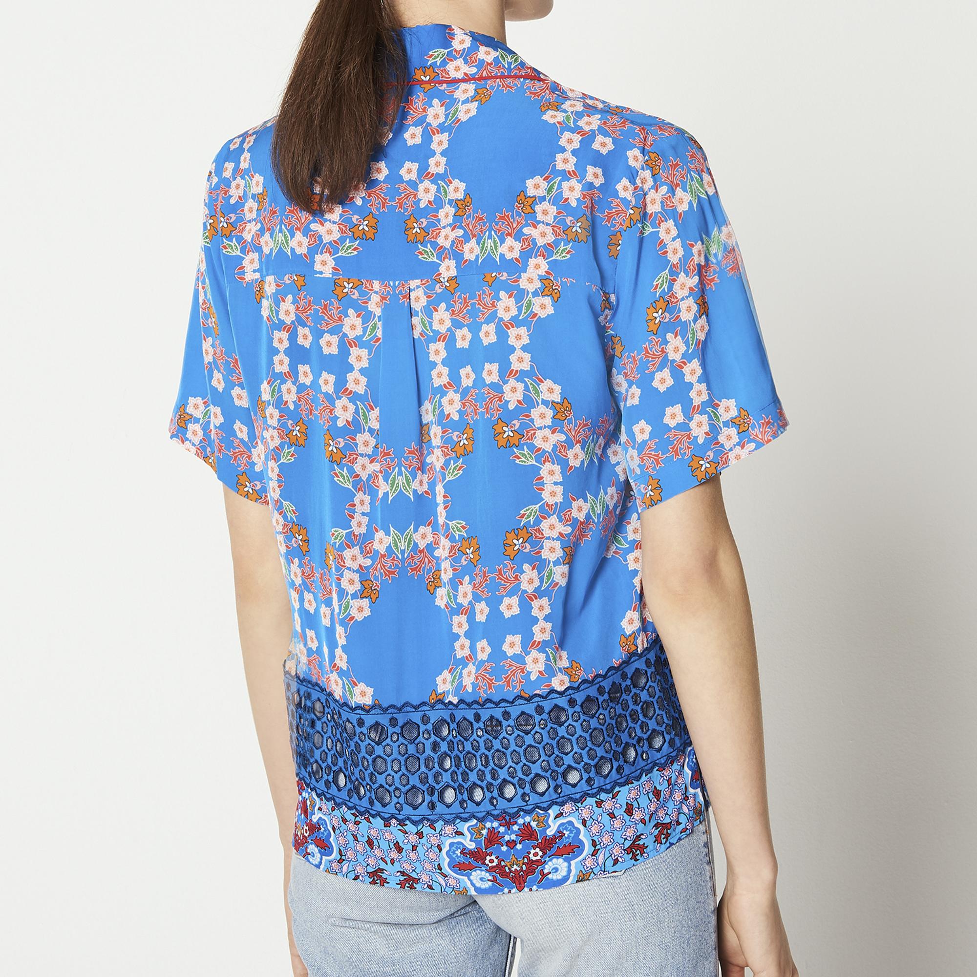 Camicia stampata a maniche corte : Top & Camicie colore Blu turchese