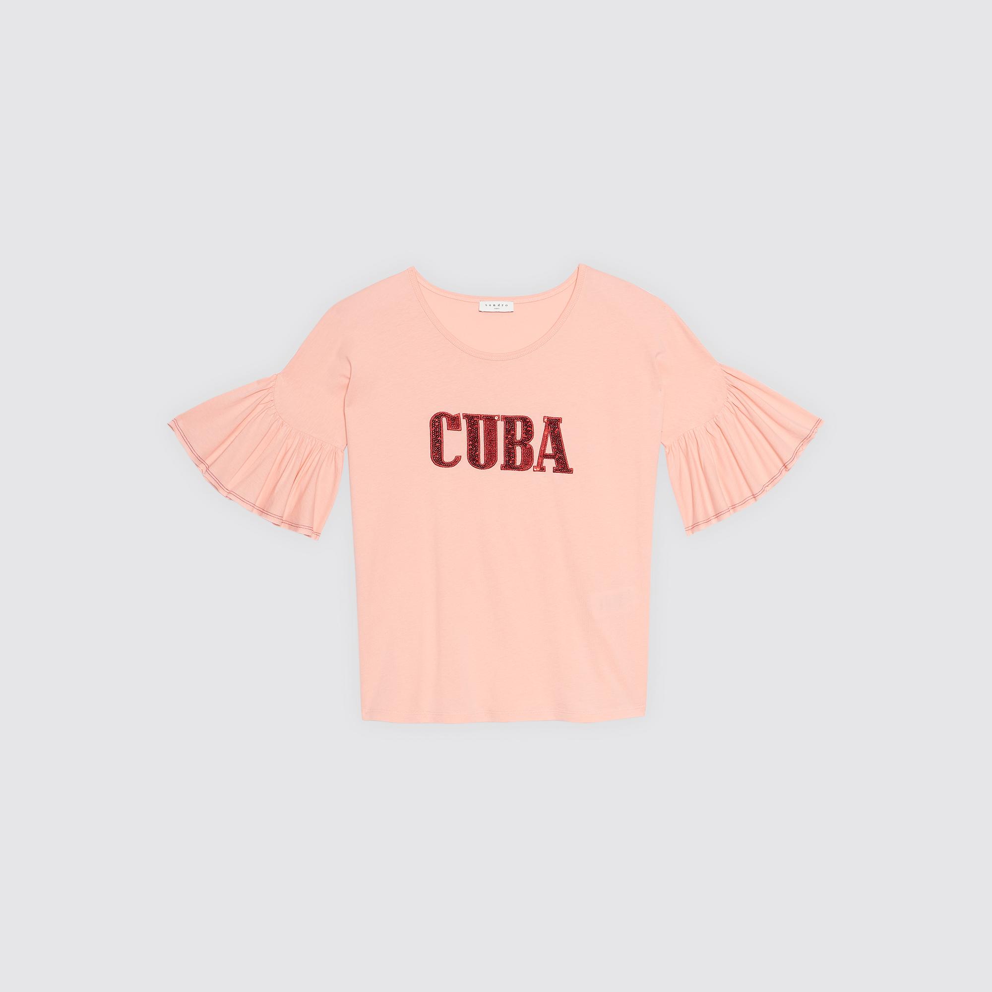 T-shirt Cuba, maniche svasate : Magliette colore Rosa