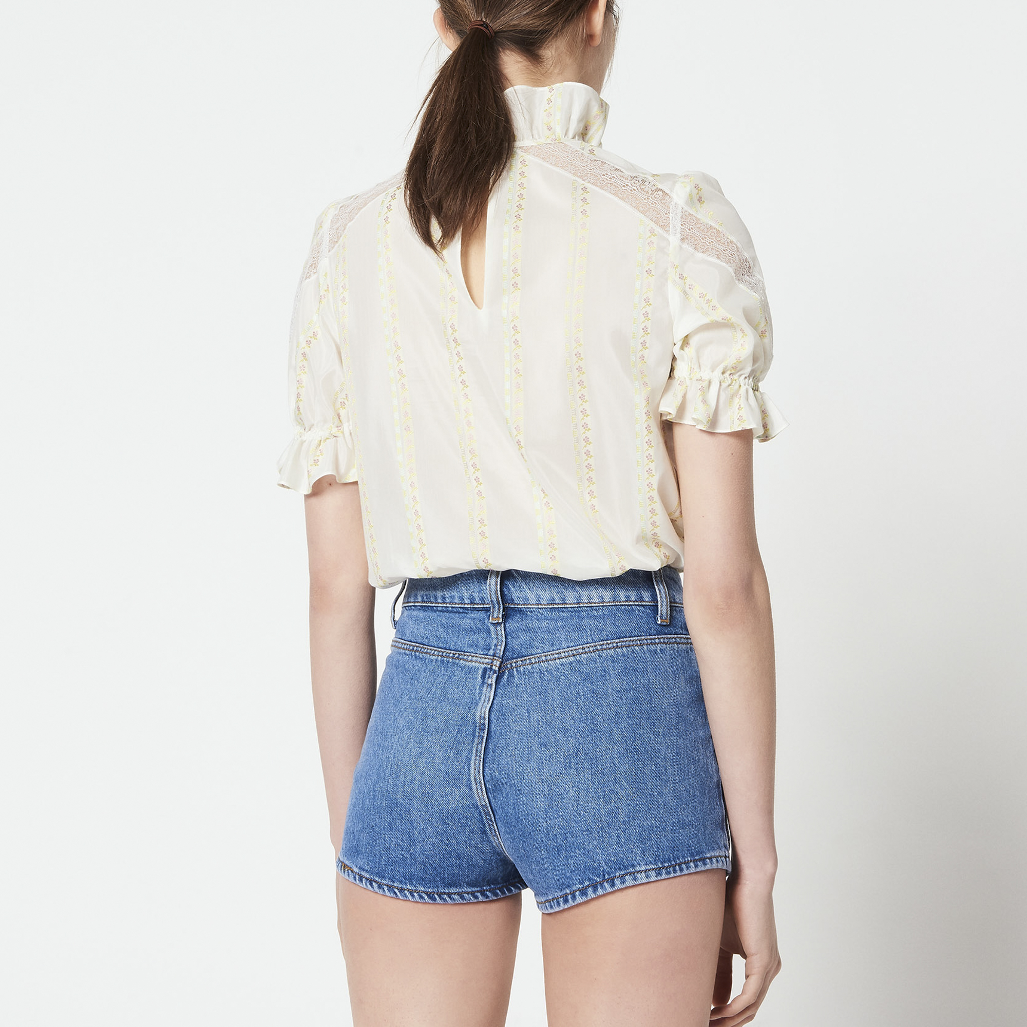 Short in jeans con tasche a vista : Gonne & Short colore Blue Vintage - Denim