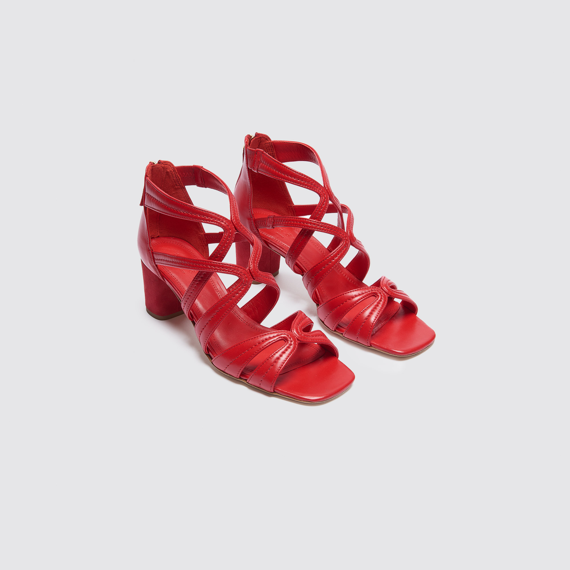 Sandali con tacco medio : Sandali colore Rosso