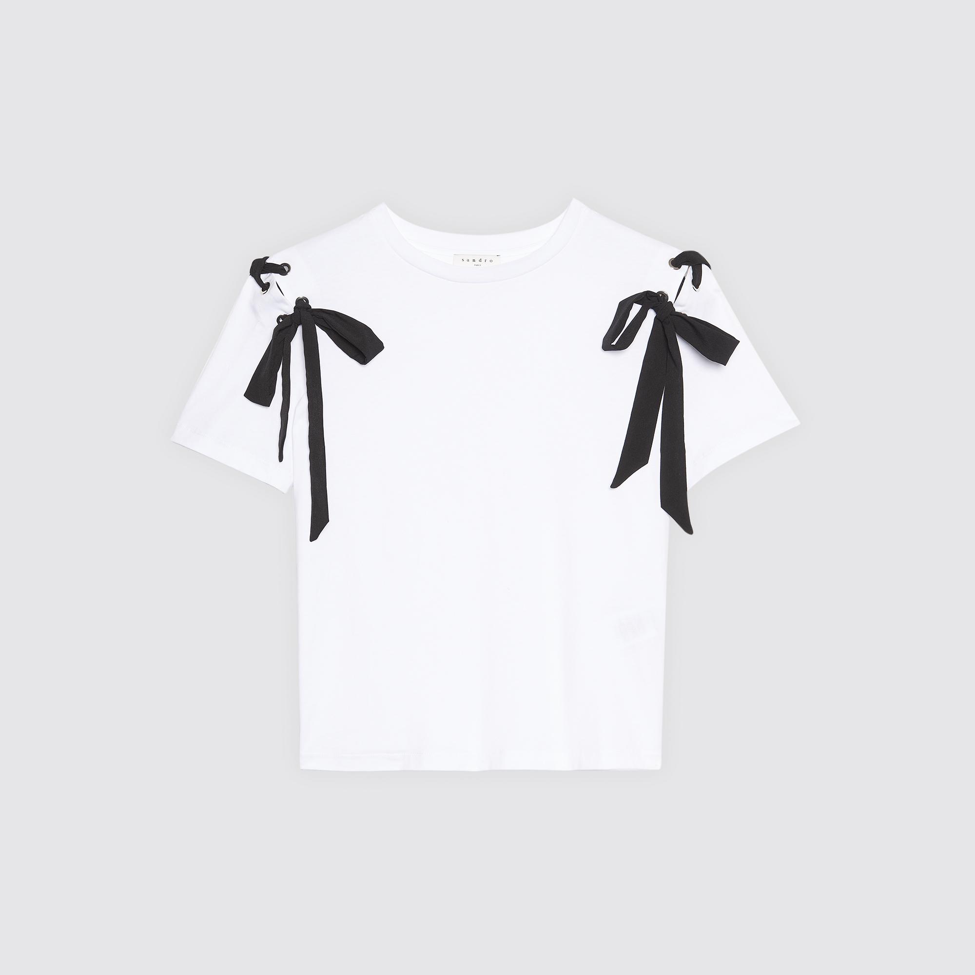 T-shirt con lacci sulle spalle : Magliette colore Ecru