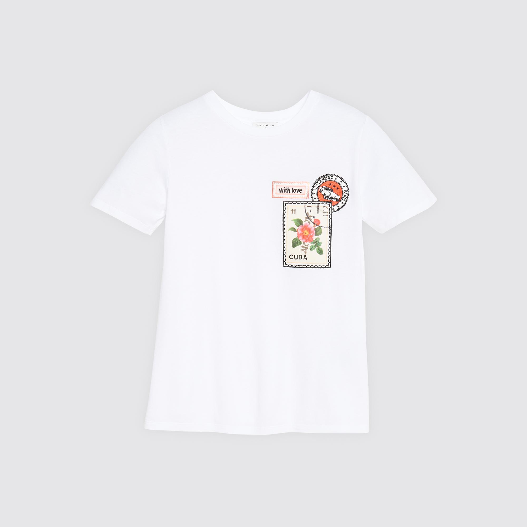 T-shirt con applicazioni Cuba : Magliette colore Bianco