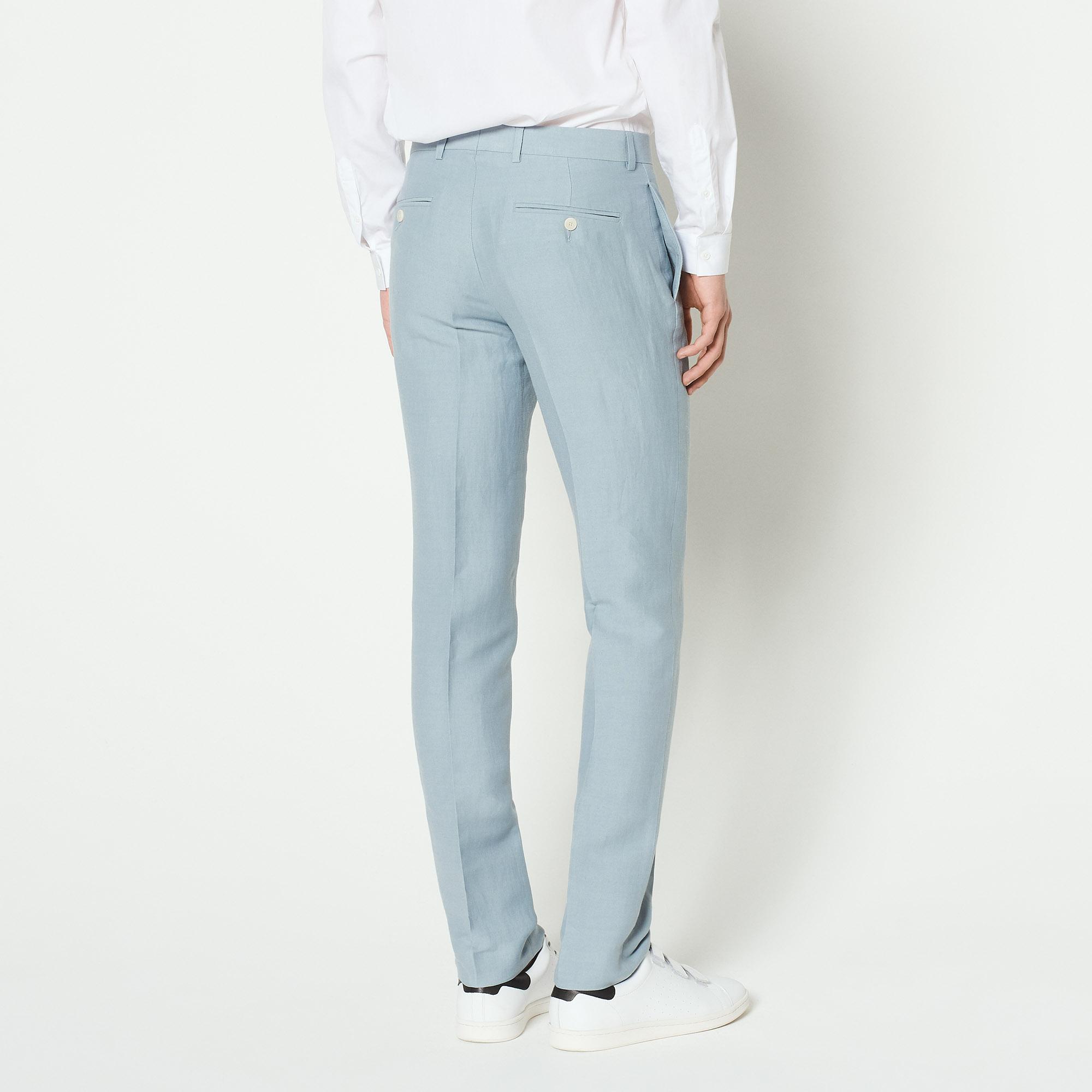 Pantaloni da completo in lino : Abiti & Smoking colore Sky Blue