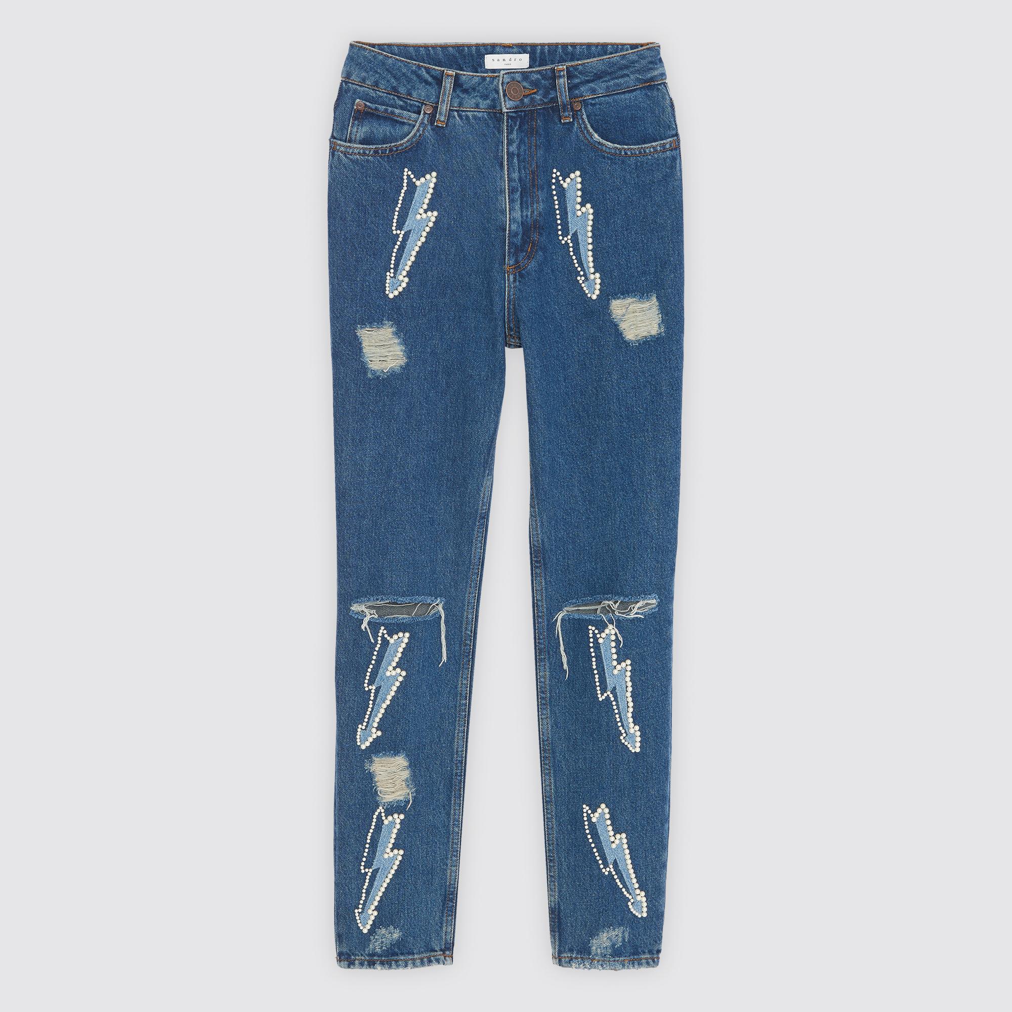 Jeans a vita alta con inserti a fulmine : Jeans colore Blue Vintage - Denim