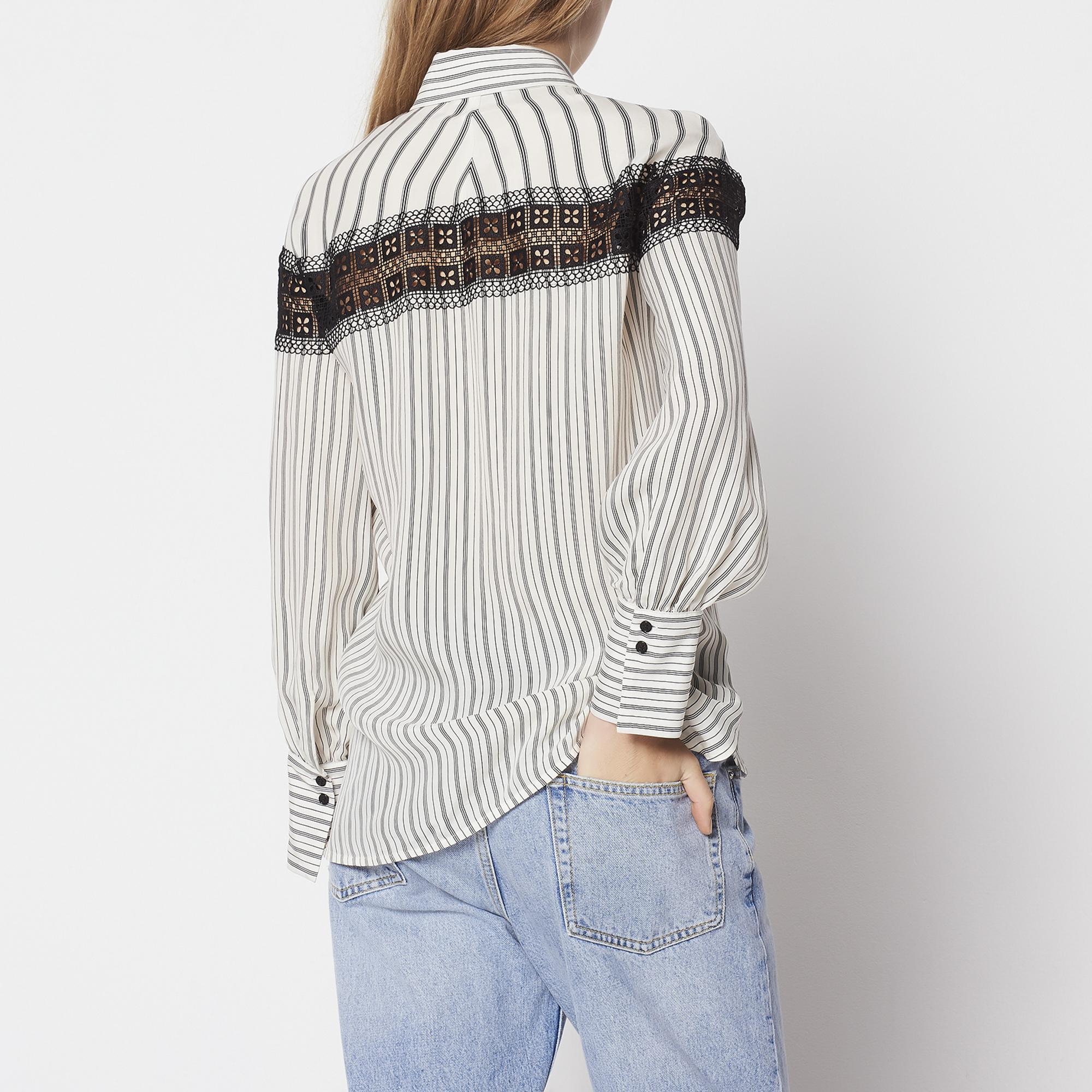 Camicia a righe con inserto in pizzo : Top & Camicie colore Ecru