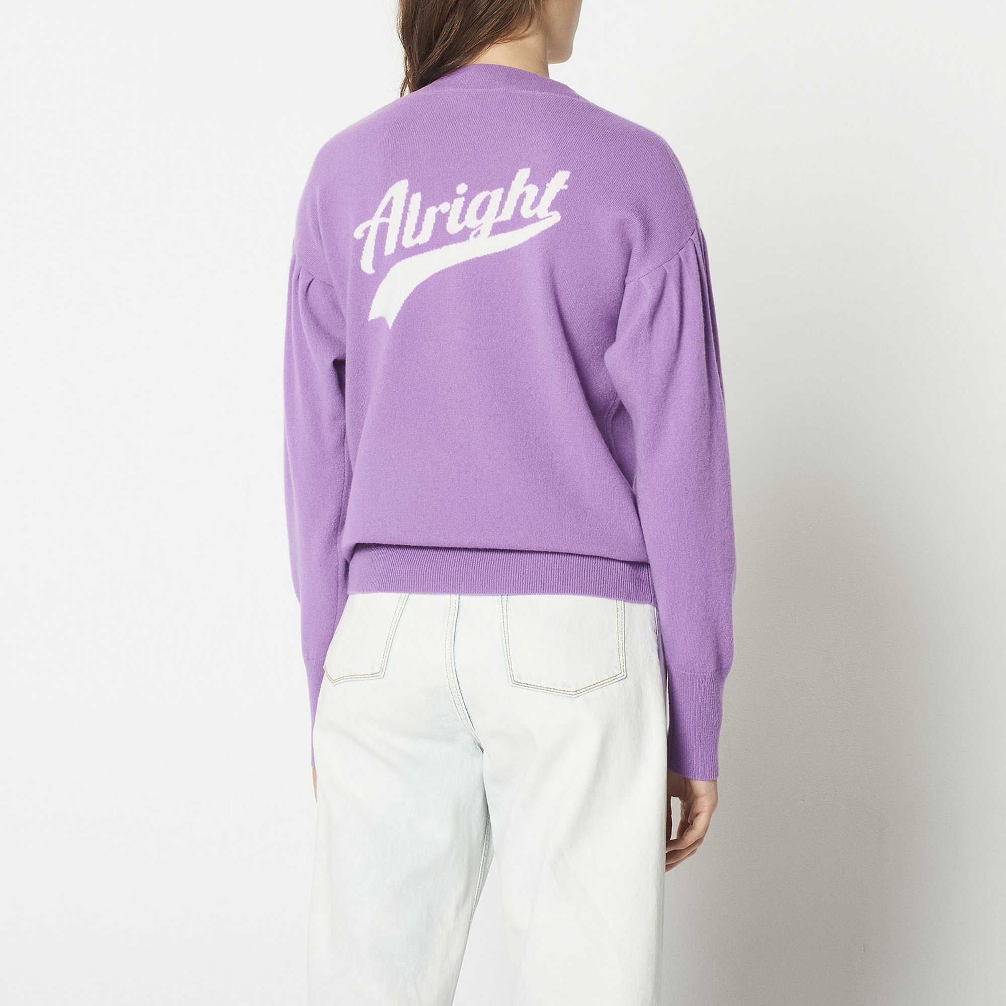 Pullover in misto lana scritta sul retro : Collezione Estiva colore Viola