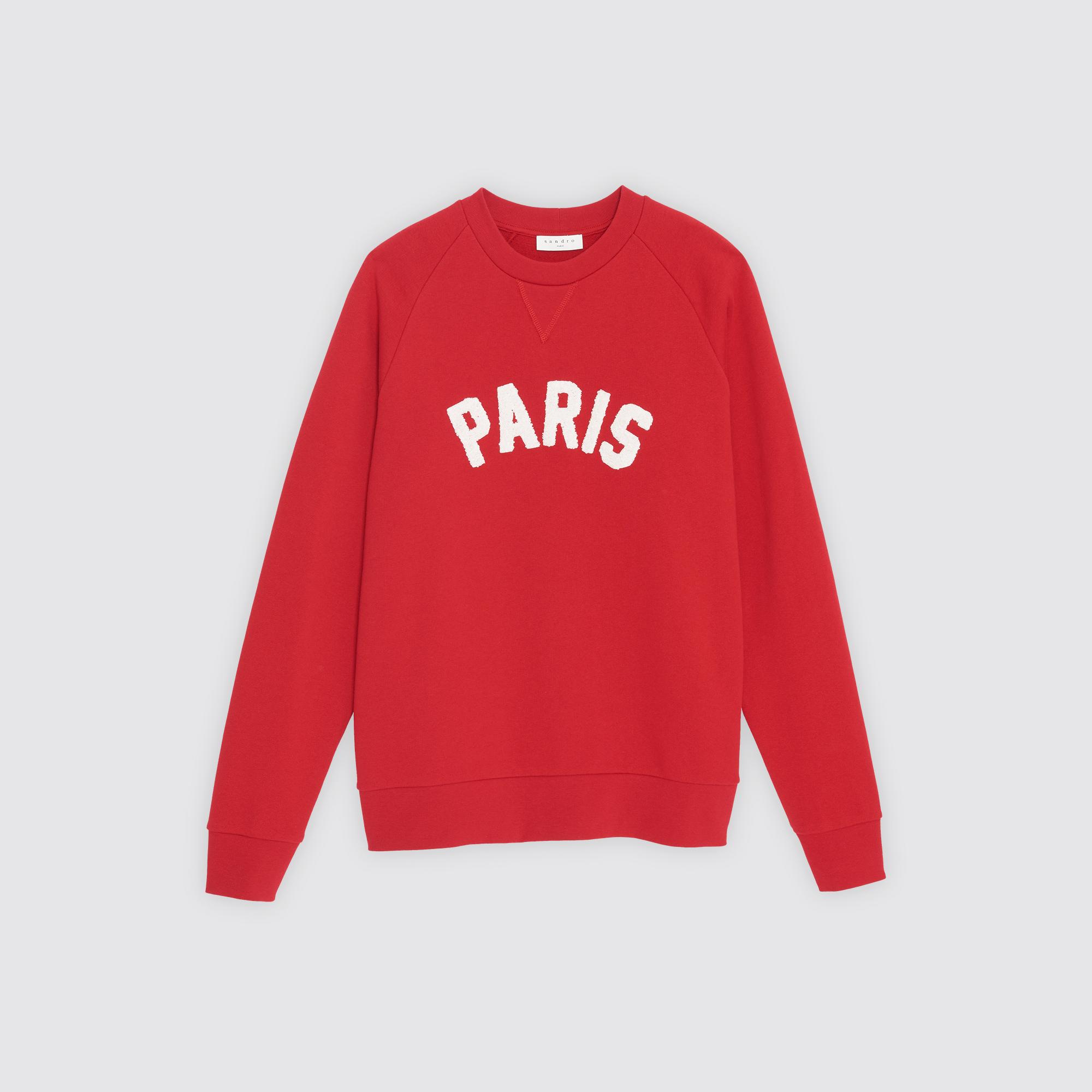 Felpa unisex con applicazione Paris : Felpe colore Rosso scuro