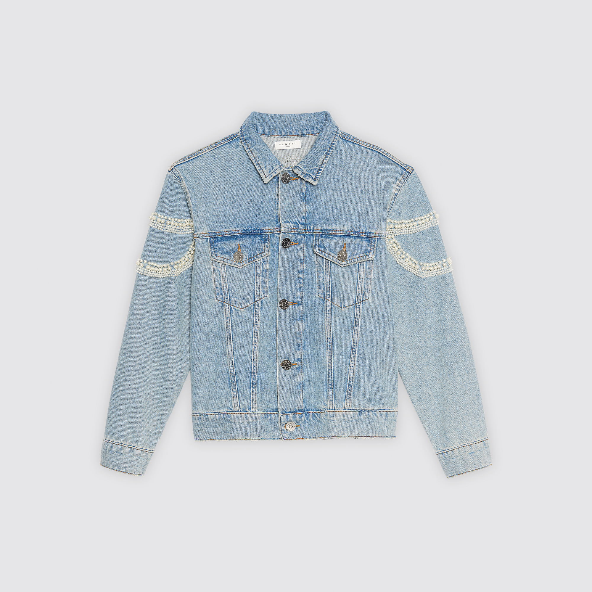 Giacca in jeans oversize con perle : Giacche & Giubbotti colore Blue Vintage - Denim