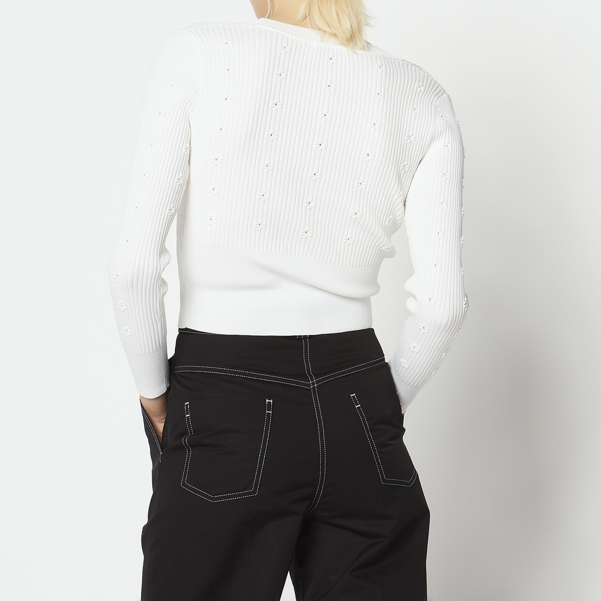 Cardigan in maglia con inserto floreale : Collezione Estiva colore Ecru