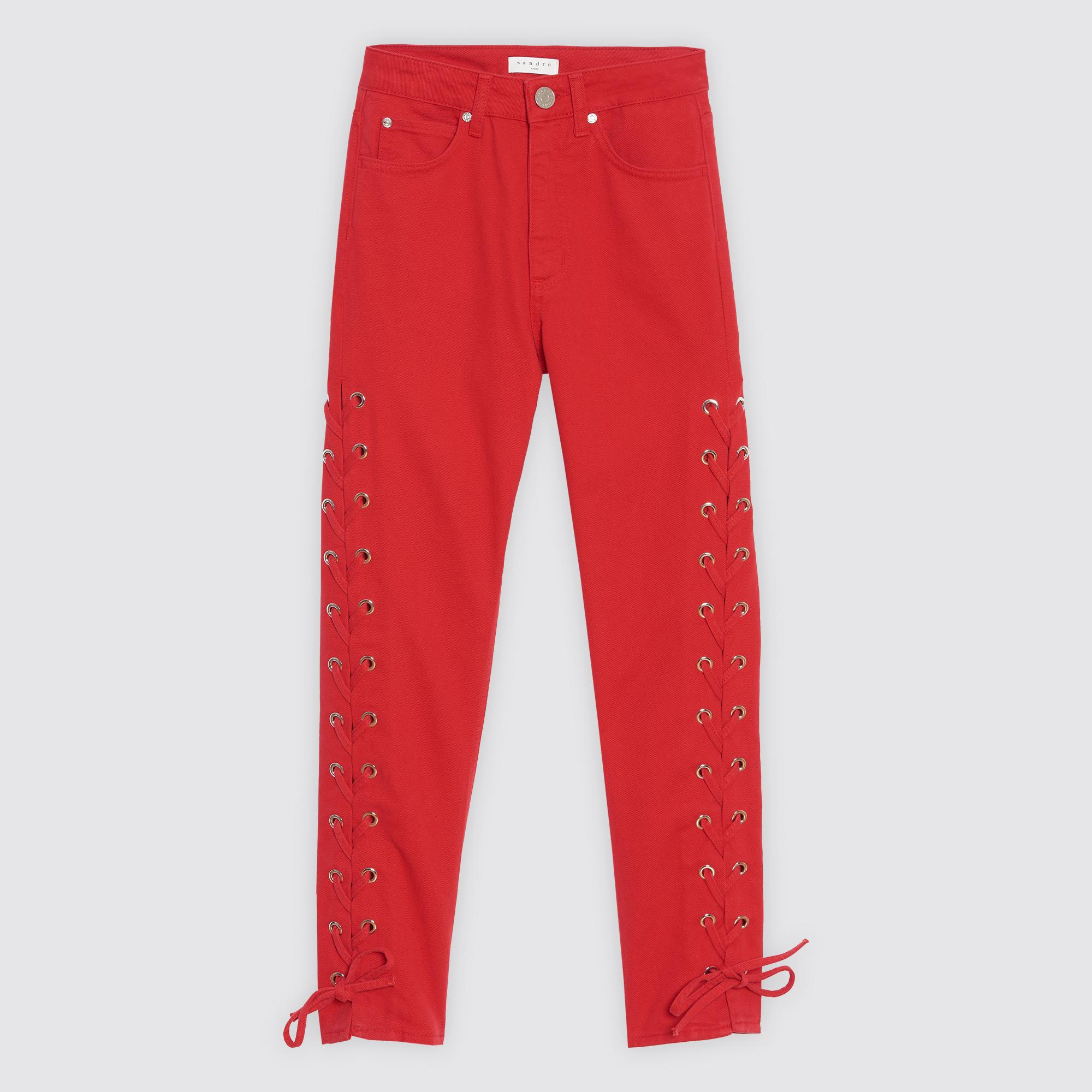 Pantaloni in cotone con lacci : Collezione Estiva colore Rosso Ciliegia