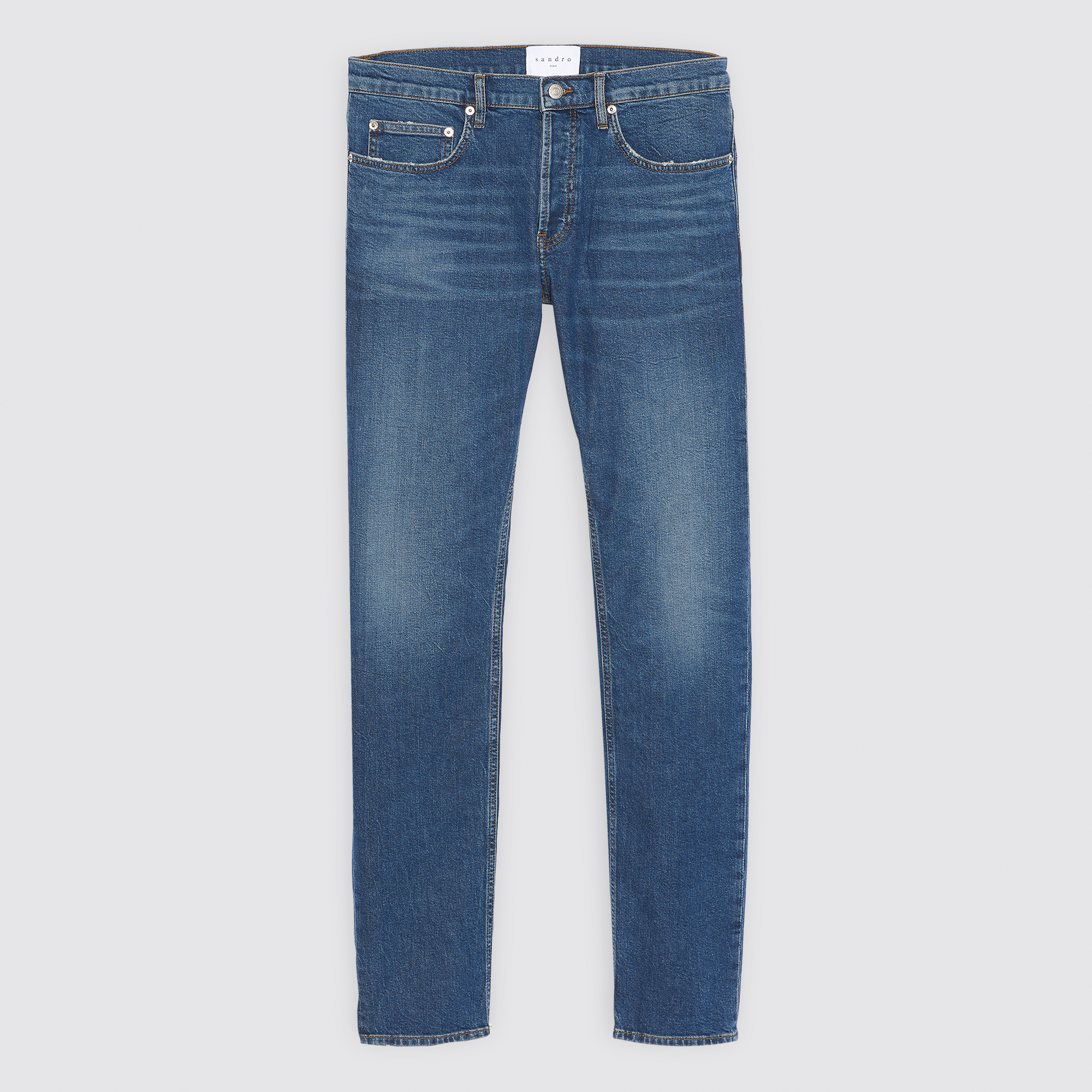 Jeans blu in denim linea dritta : Jeans colore Blue Vintage - Denim