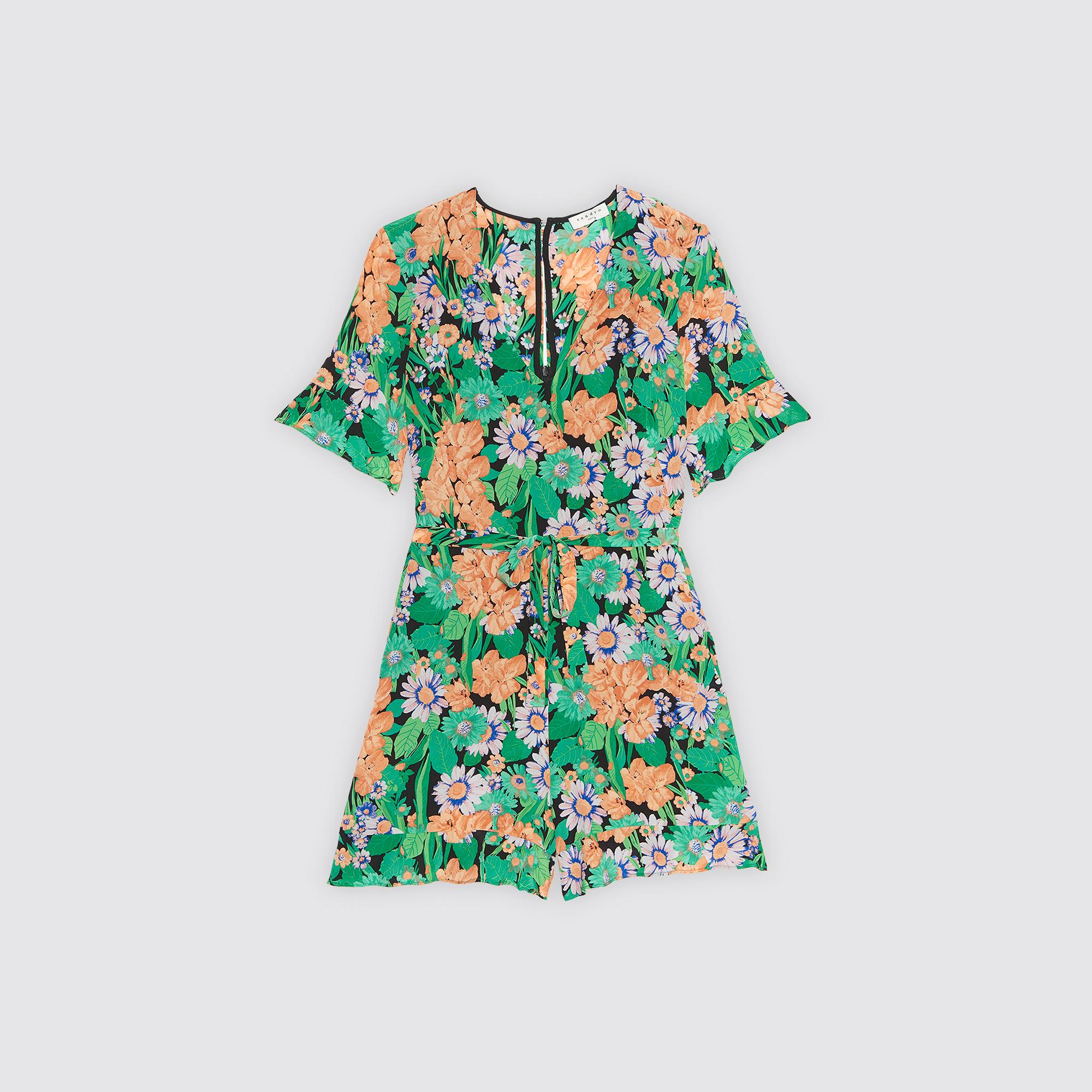 Combishort seta stampa floreale all-over : Gonne & Short colore Verde