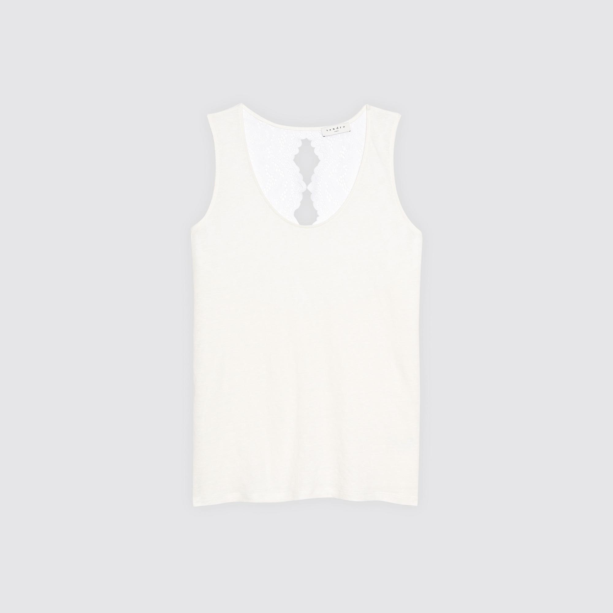 T-shirt con inserto in pizzo sul retro : Magliette colore Bianco